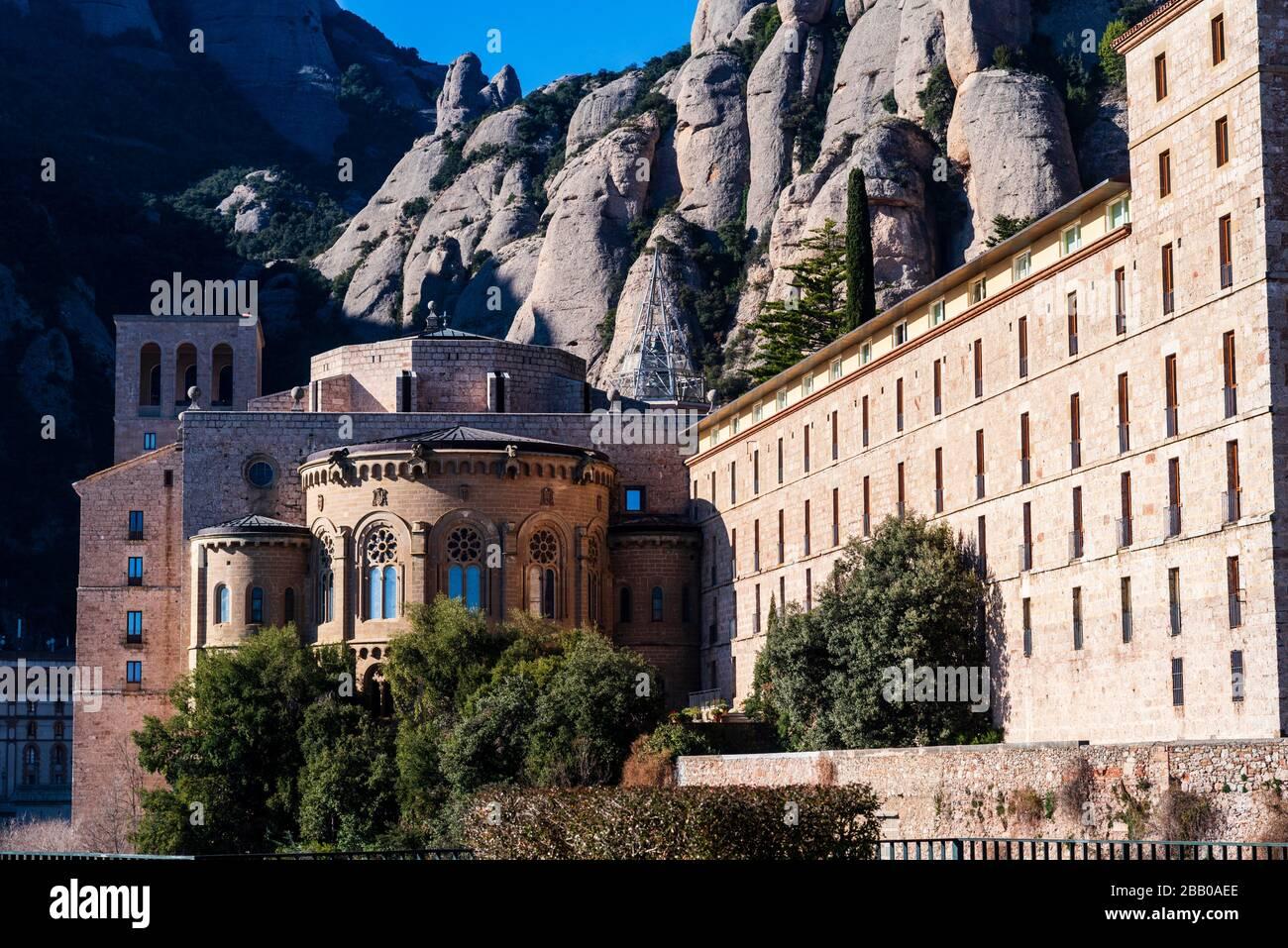 Montagne et basilique de Montserrat, Barcelone, Catalogne, Espagne. Banque D'Images