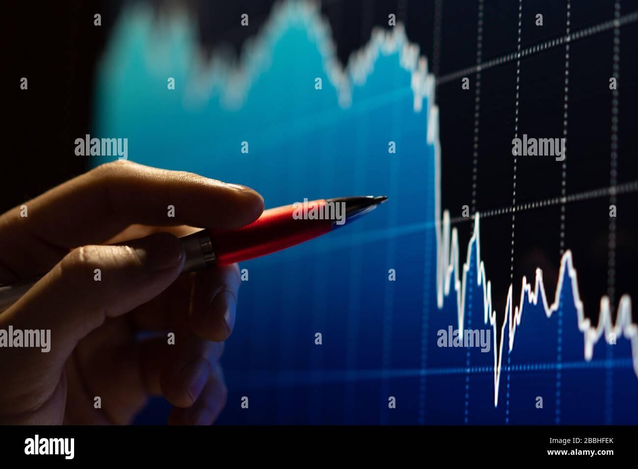 Arrière-plan du graphique de données d'échange de stock d'écran d'entreprise Banque D'Images