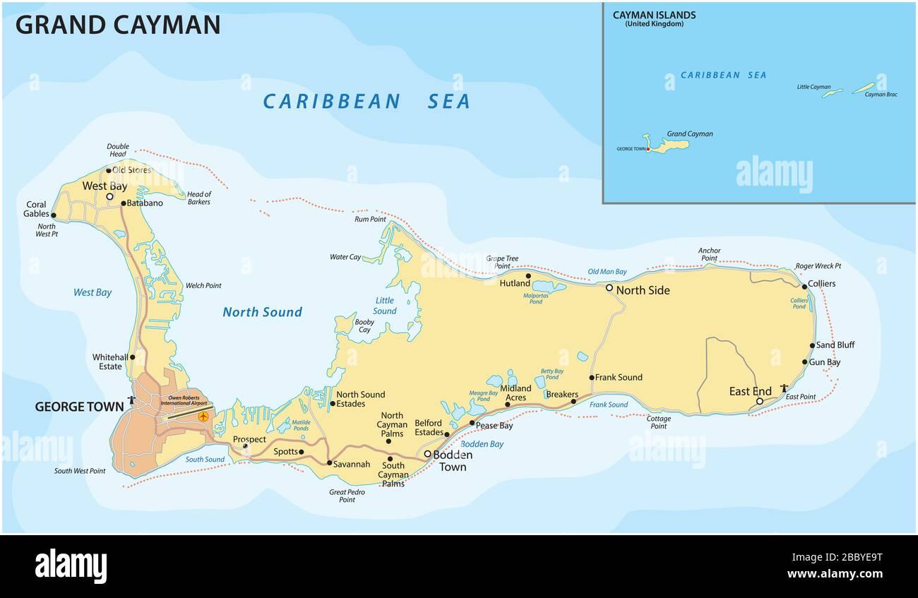 Carte routière vectorielle de l'île des Caraïbes de Grand Cayman Illustration de Vecteur