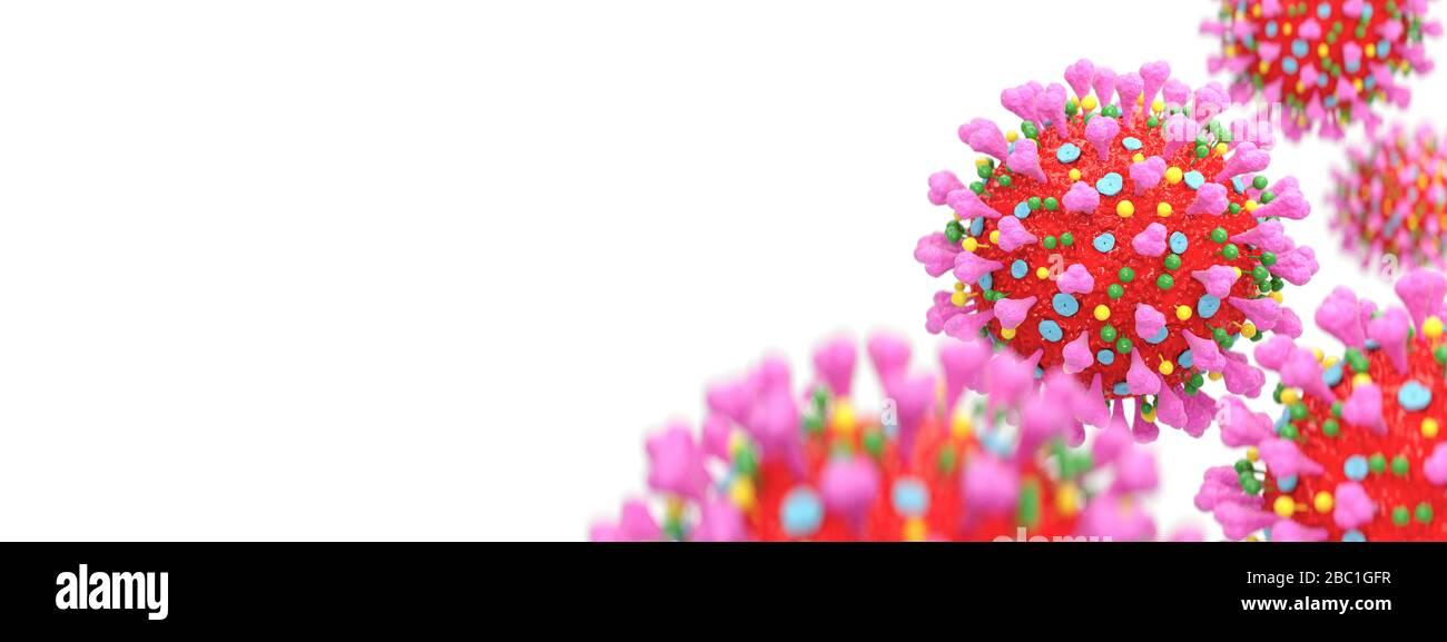 Éclosion de coronavirus et coronavirus de grippe sur fond blanc avec espace de copie. Vue microscopique du Coronavirus. rendu tridimensionnel. Banque D'Images