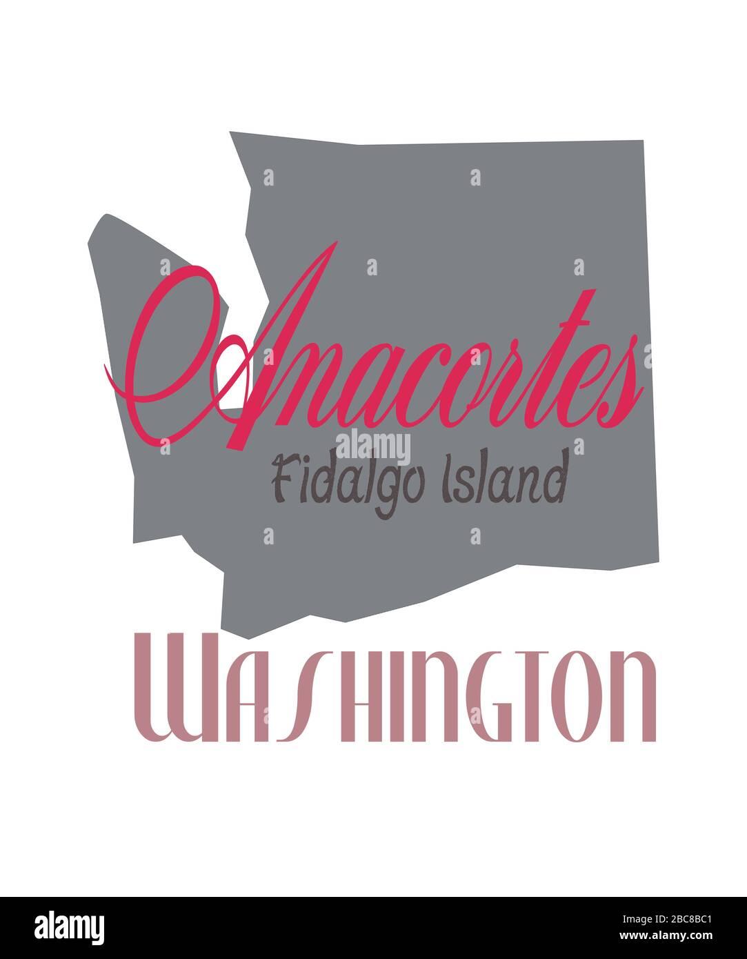 Anacortes Washington graphique en forme d'état de Washington. Situé dans le comté de Skagit sur l'île Fidalgo illustration en gris, et pinks. Banque D'Images