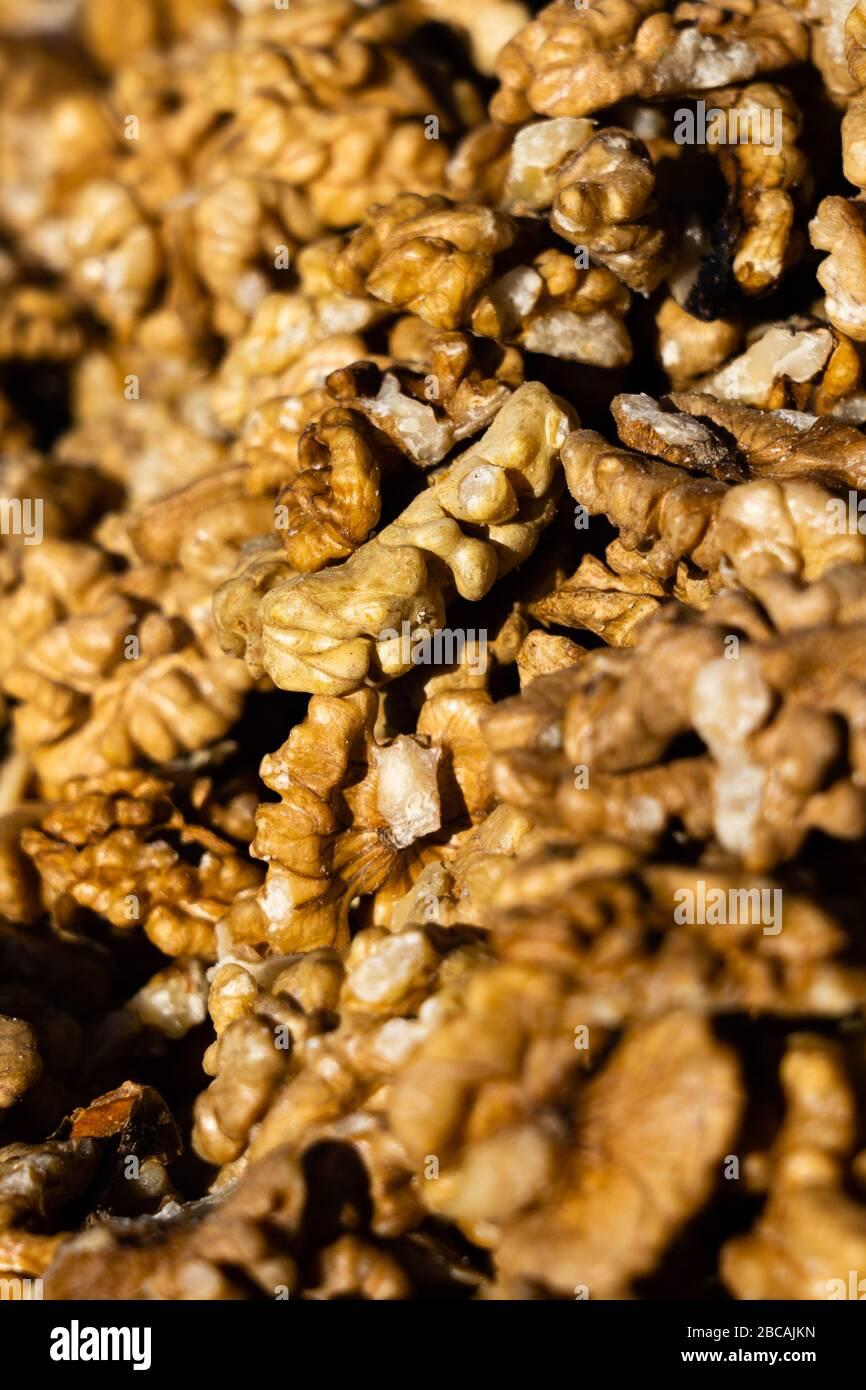 Gros plan du gros tas de noix décortiquées Banque D'Images