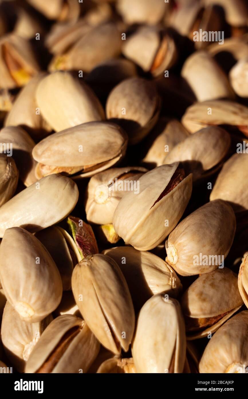 Arrière-plan des pistaches. Pistaches salées. Banque D'Images