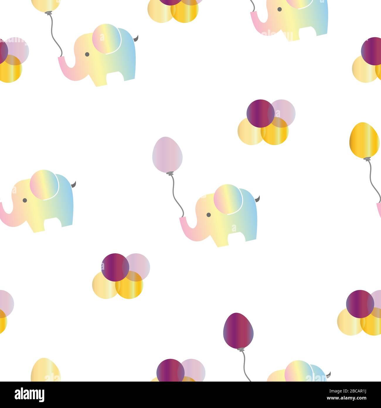motif sans couture avec éléphants arc-en-ciel et ballons violets vectoriels Illustration de Vecteur