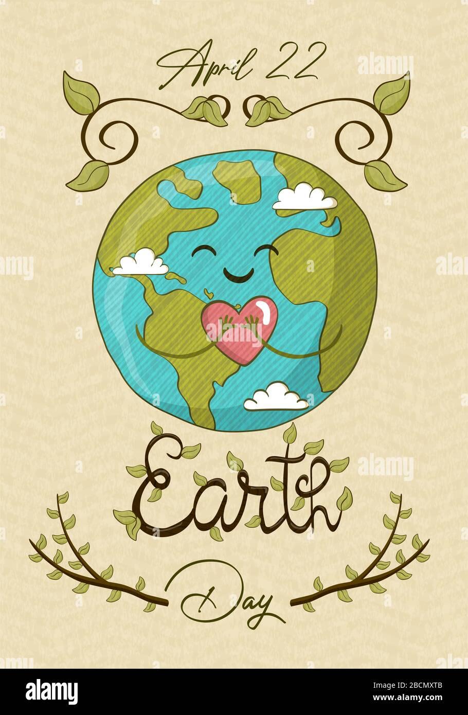 Happy Earth Day, 22 avril événement d'aide à l'environnement pour la sensibilisation mondiale aux soins de la nature. Jolie planète dessinée à la main tenant le coeur, le monde vert amour bande dessinée Illustration de Vecteur