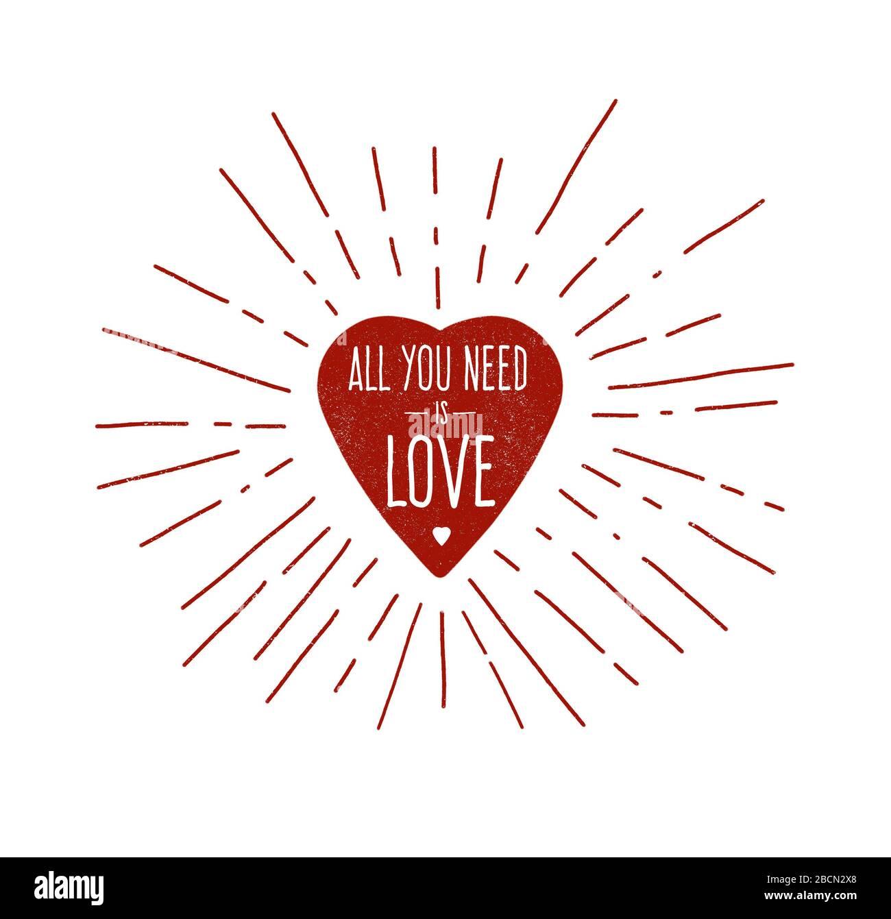 Illustration de coeur rouge dessinée à la main avec les mots « tout ce dont vous avez besoin est Amour » phrase Banque D'Images