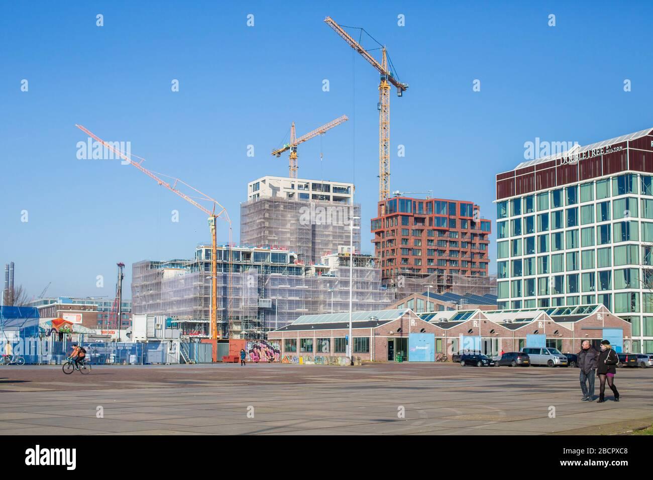 Nouvelle architecture à Amsterdam Nord Banque D'Images