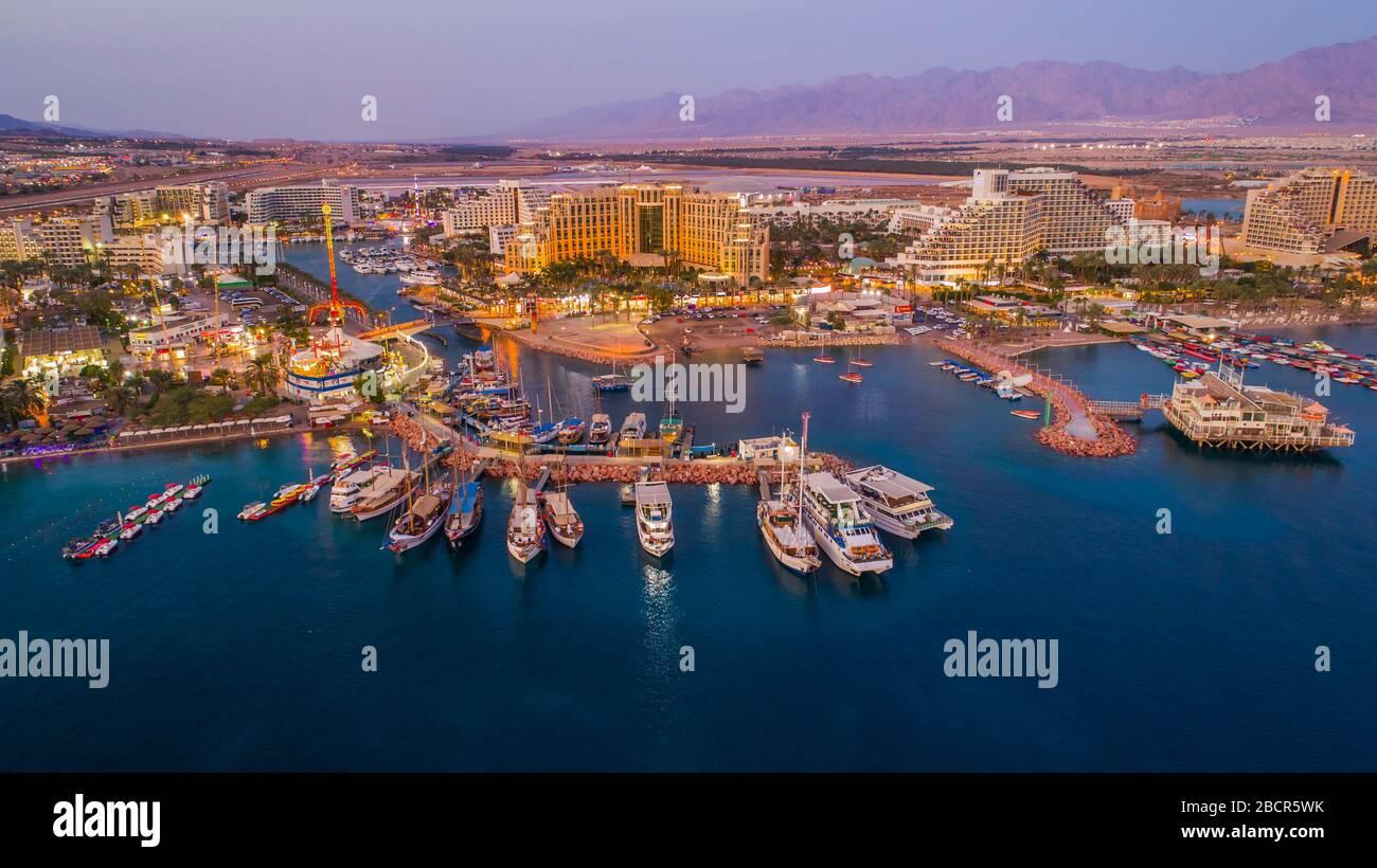 Eilat en Israël, vue aérienne sur la drone Banque D'Images