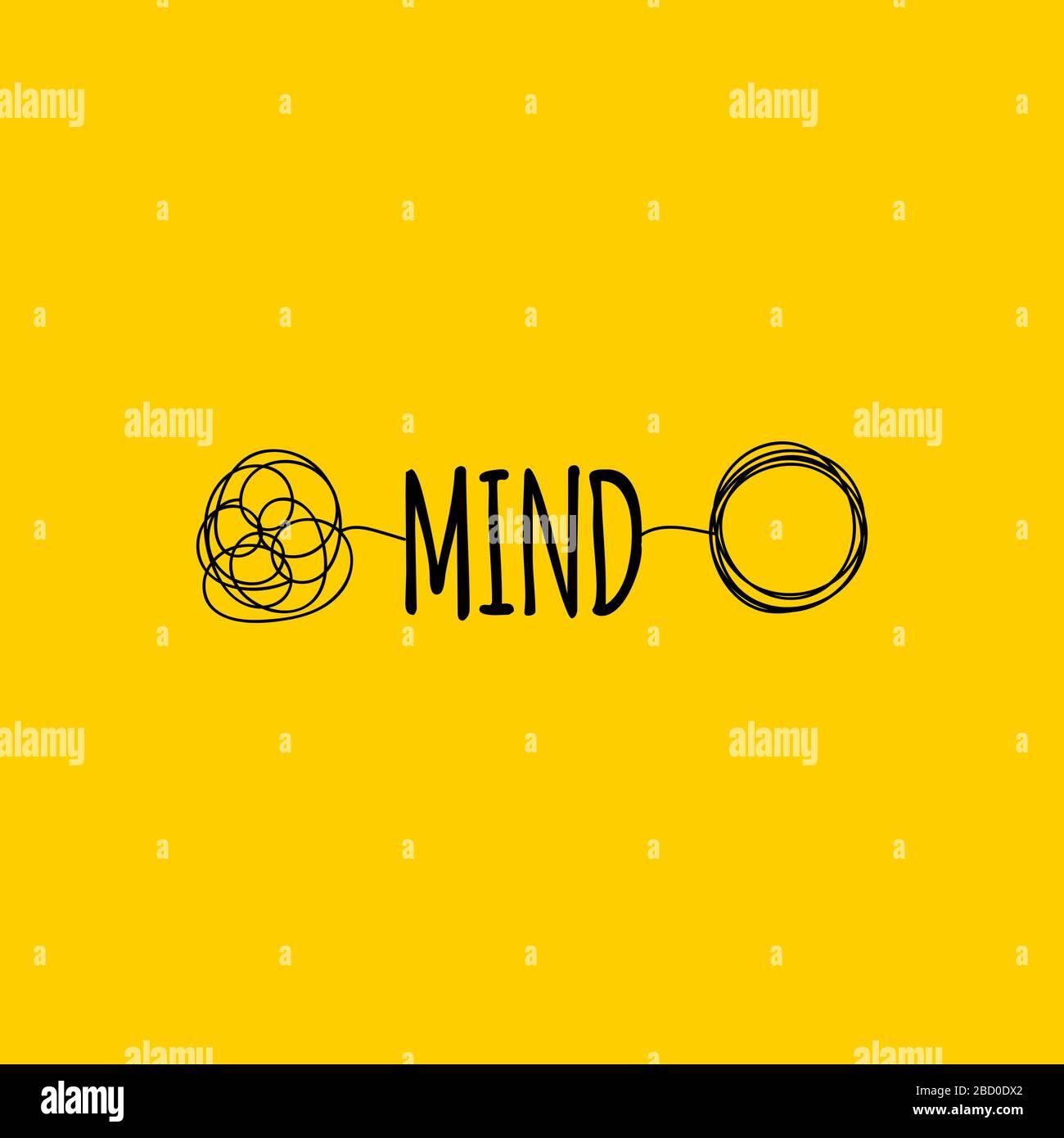 Symbole mental ou cerveau, mot d'esprit de dessin à la main, signe de coaching, icône de transformation, illustration vectorielle Illustration de Vecteur
