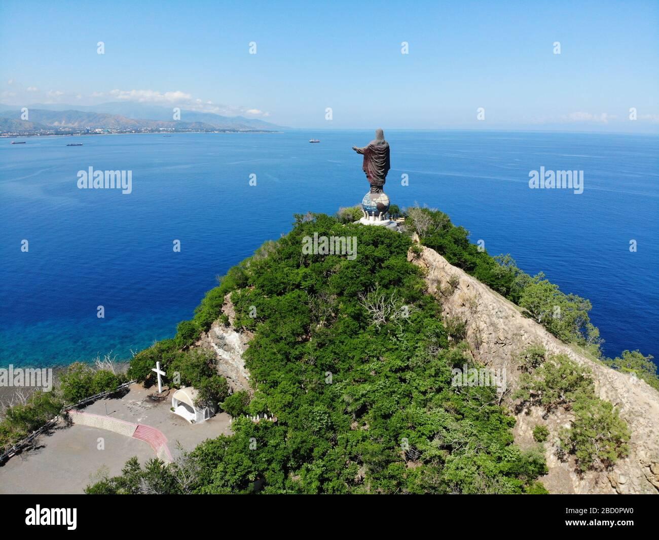 Statue de Jésus à Dili, Timor oriental, deuxième plus grand au monde Banque D'Images