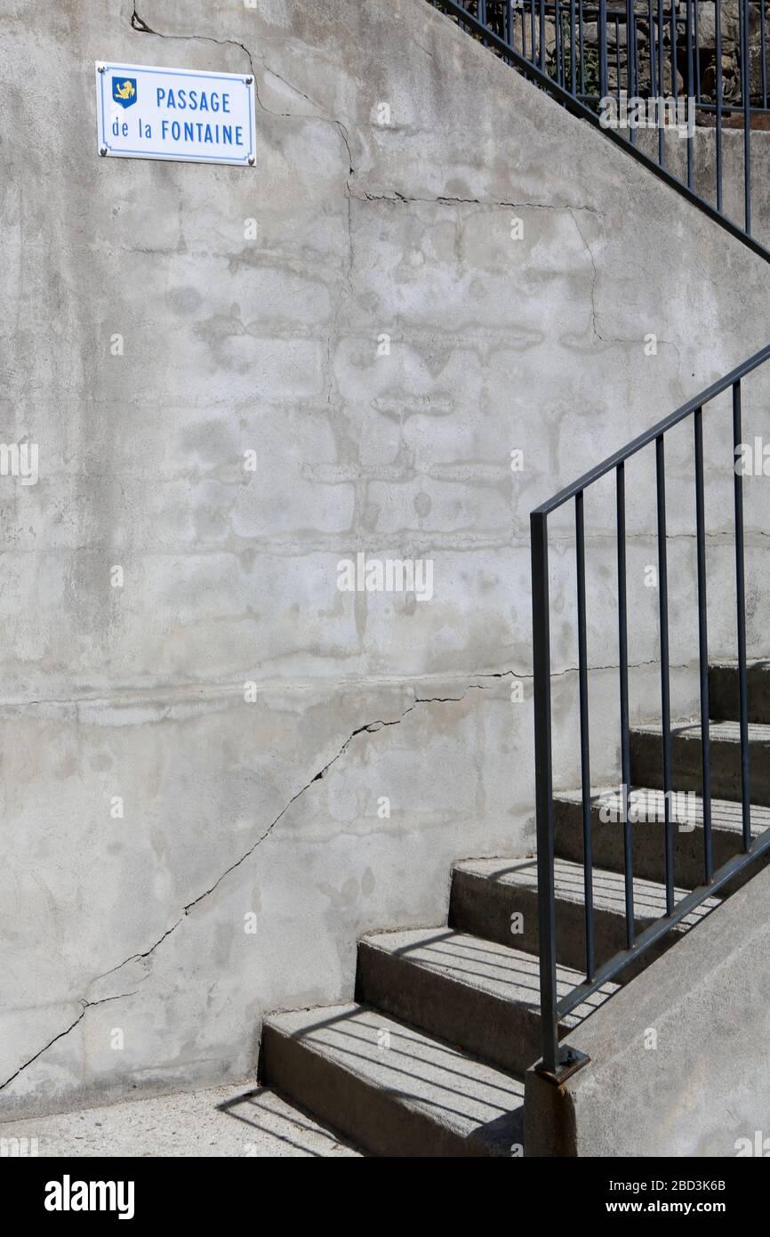 Escalier. Passage de la Fontaine. Saint-Gervais-les-bains. Haute-Savoie. France. Banque D'Images