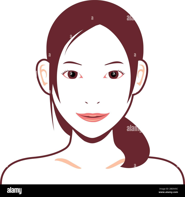 Jeune femme asiatique face illustration vectorielle Illustration de Vecteur
