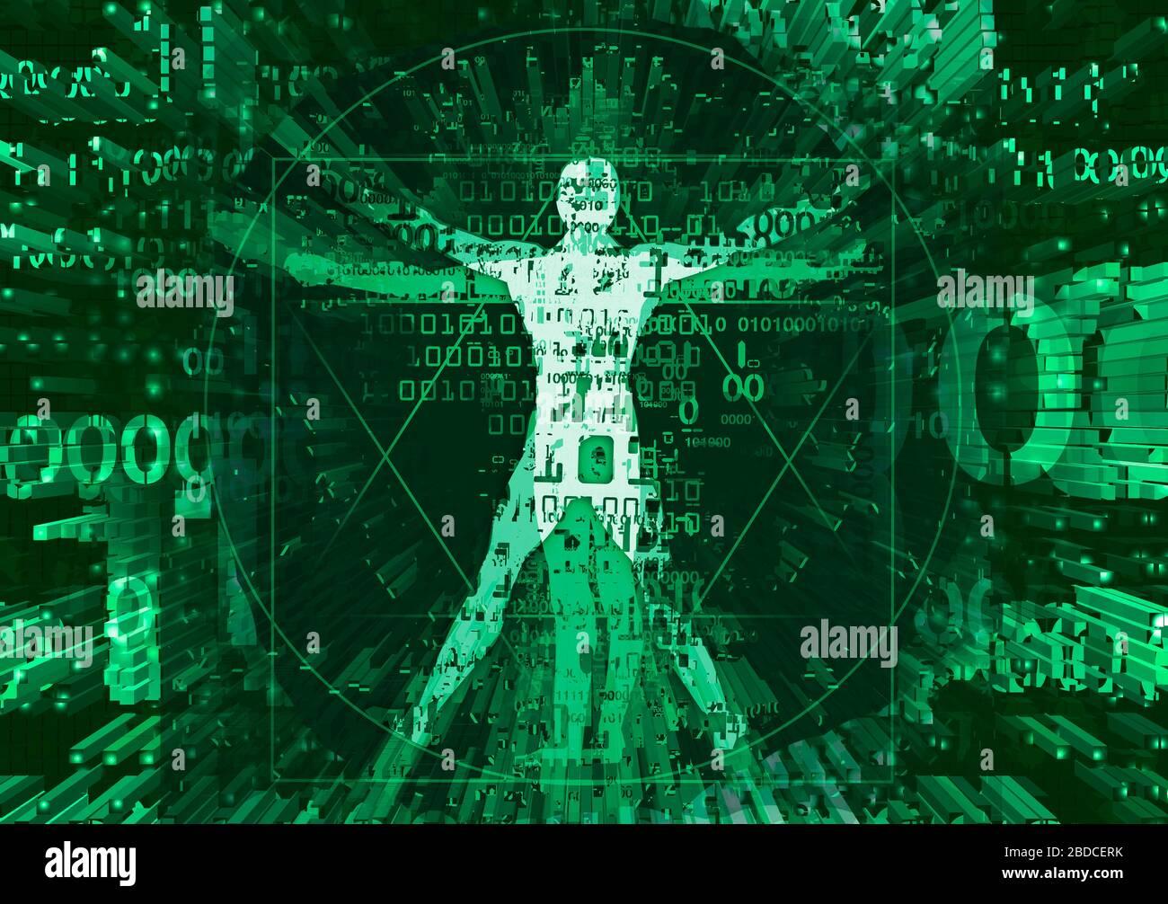Vitruvian homme en explosion de données informatiques détruites. Illustration verte futuriste de vitruvian man avec des codes binaires détruits . Banque D'Images