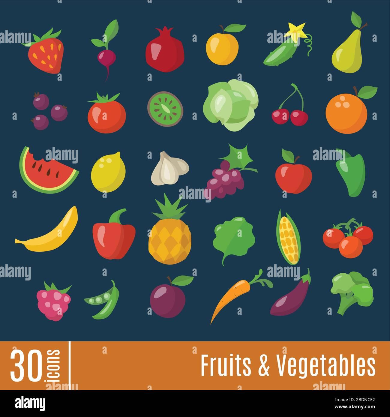 Icônes plates dans les fruits et légumes icônes d'infographie définies. Illustration de Vecteur