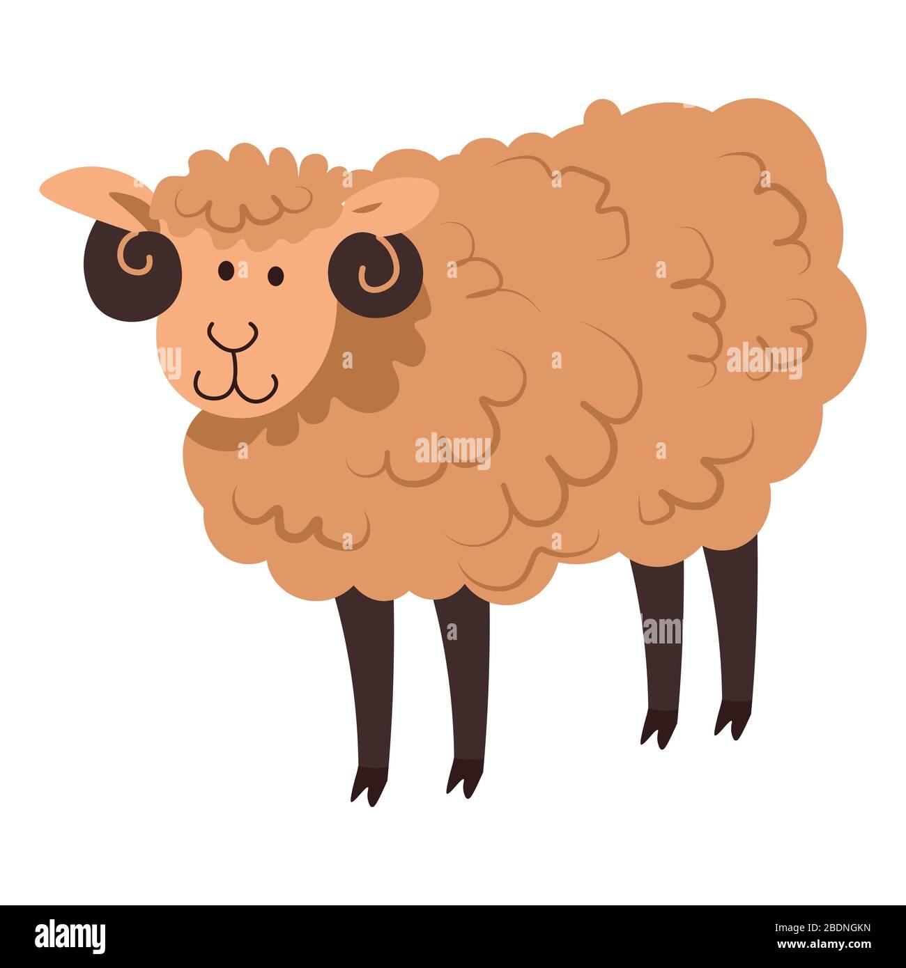 Joli mouton ou agneau, pur animal domestique vecteur Illustration de Vecteur