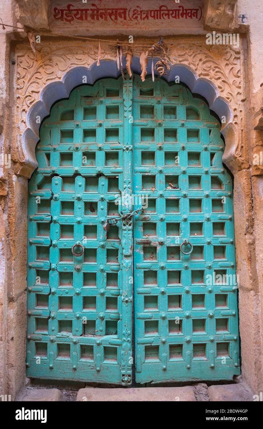 Porte traditionnelle Jaisalmer fort Rajasthan Inde Banque D'Images