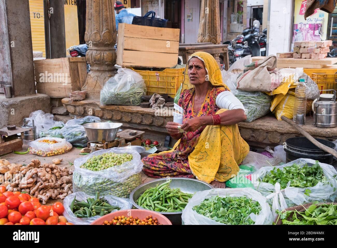 Marchand de rue Jaisalmer Rajasthan Inde Banque D'Images