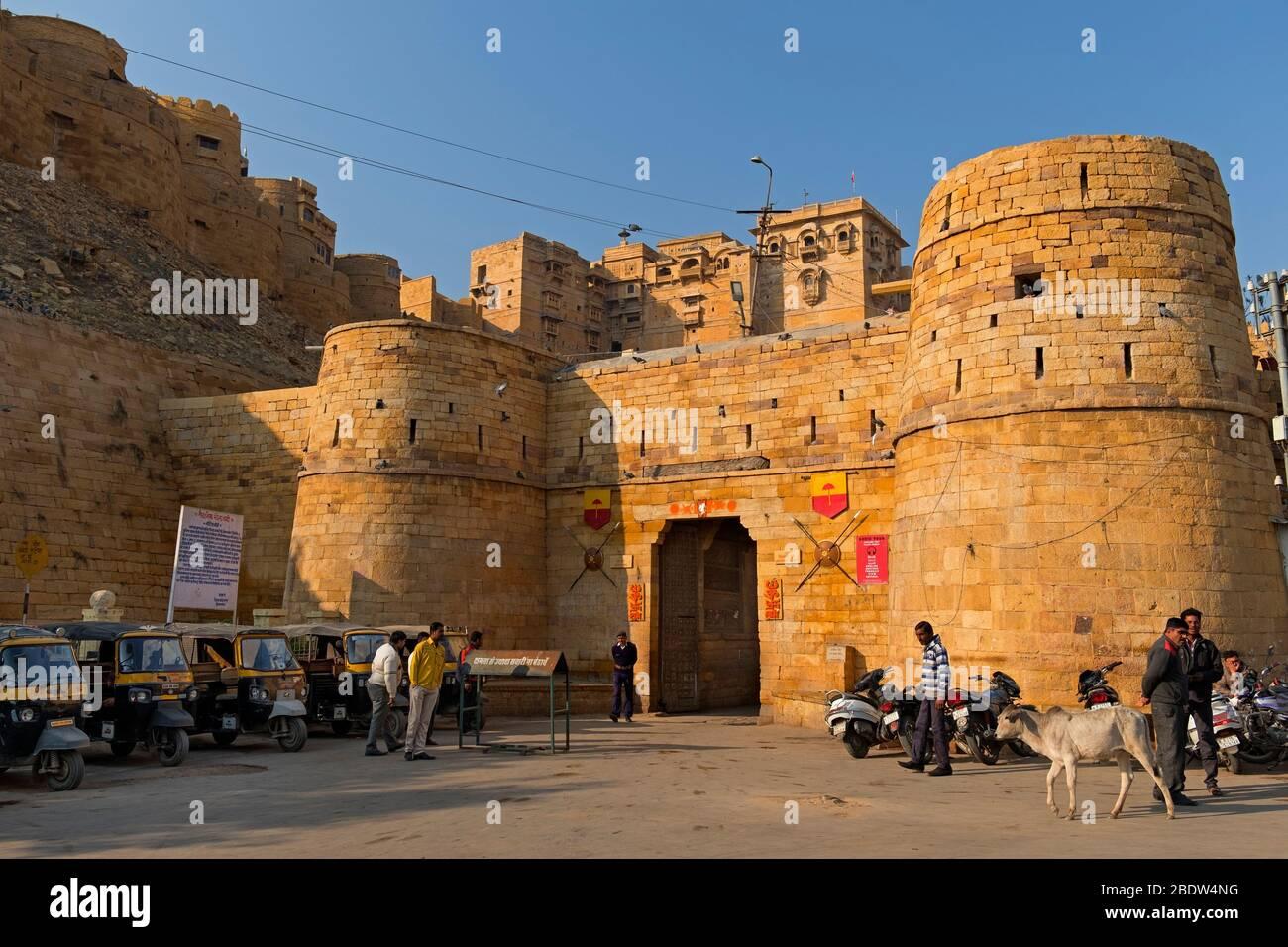 Akhai Pol entrée principale de la première porte Jaisalmer fort Rajasthan Inde Banque D'Images