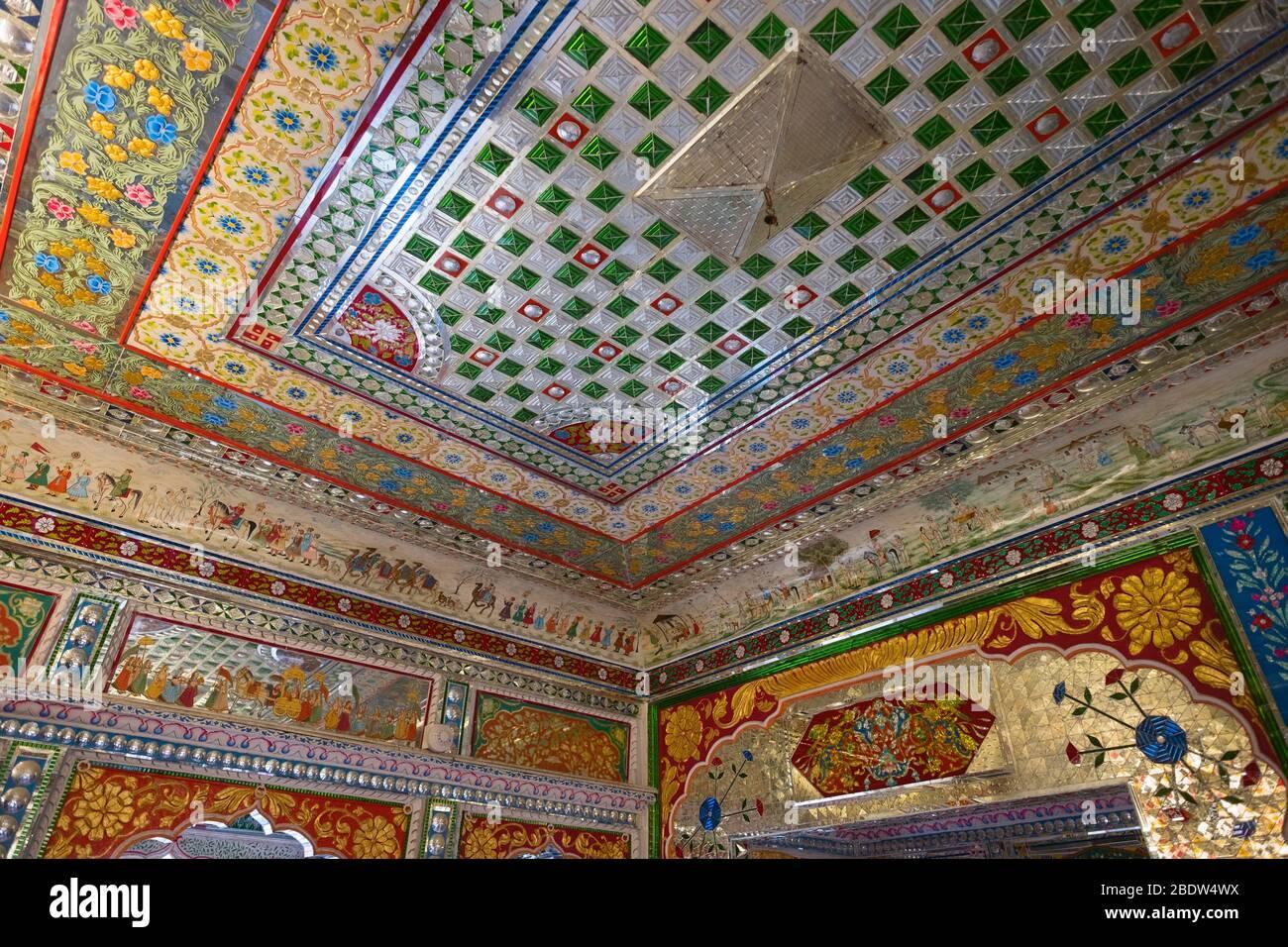 Patwa-ki-Haveli décoration intérieure Jaisalmer Rajasthan Inde Banque D'Images