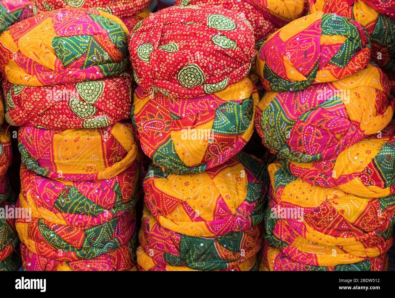 Turbans à vendre Jaisalmer fort Rajasthan Inde Banque D'Images