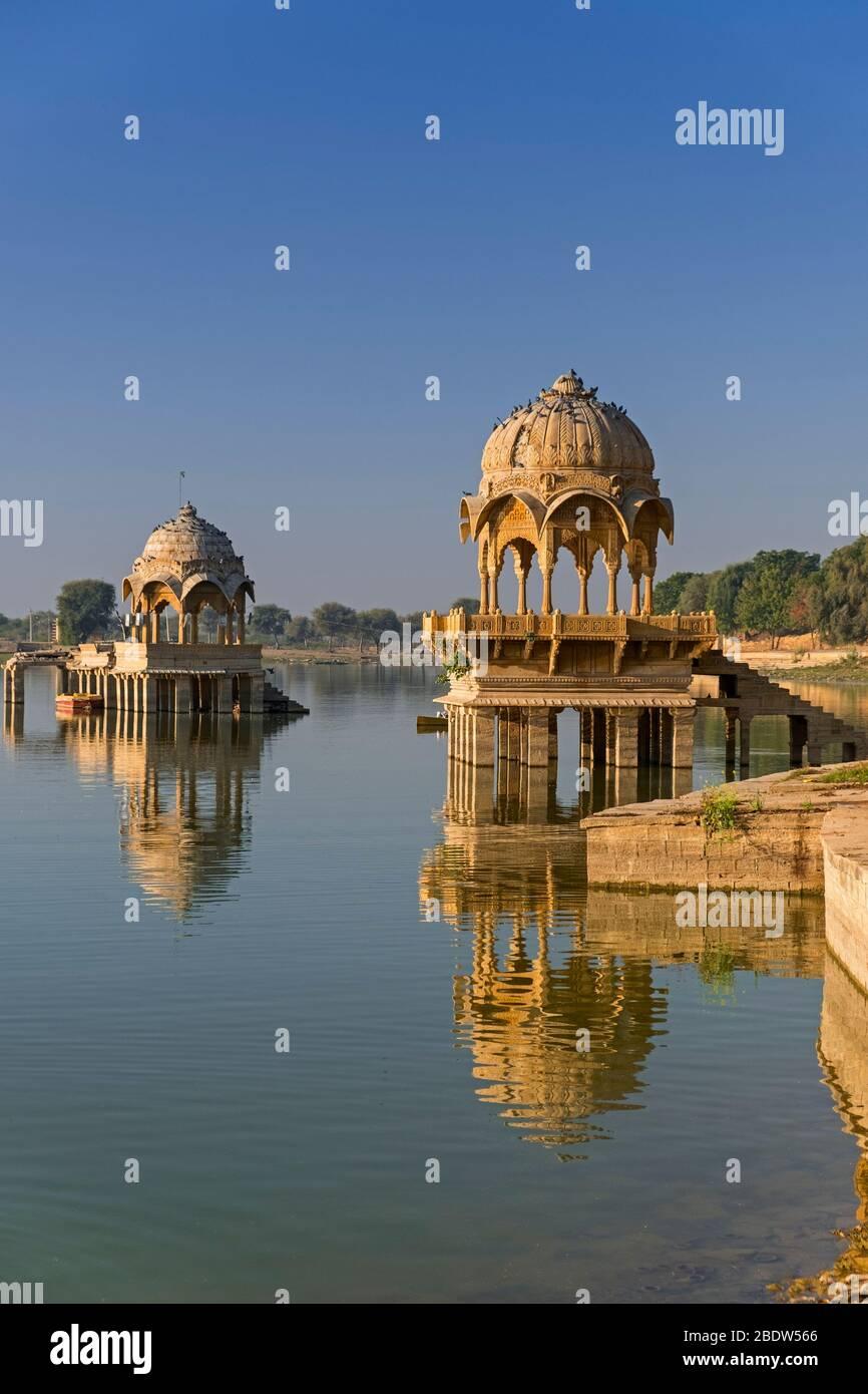 Lac Gadisar Jaisalmer Rajasthan Inde Banque D'Images