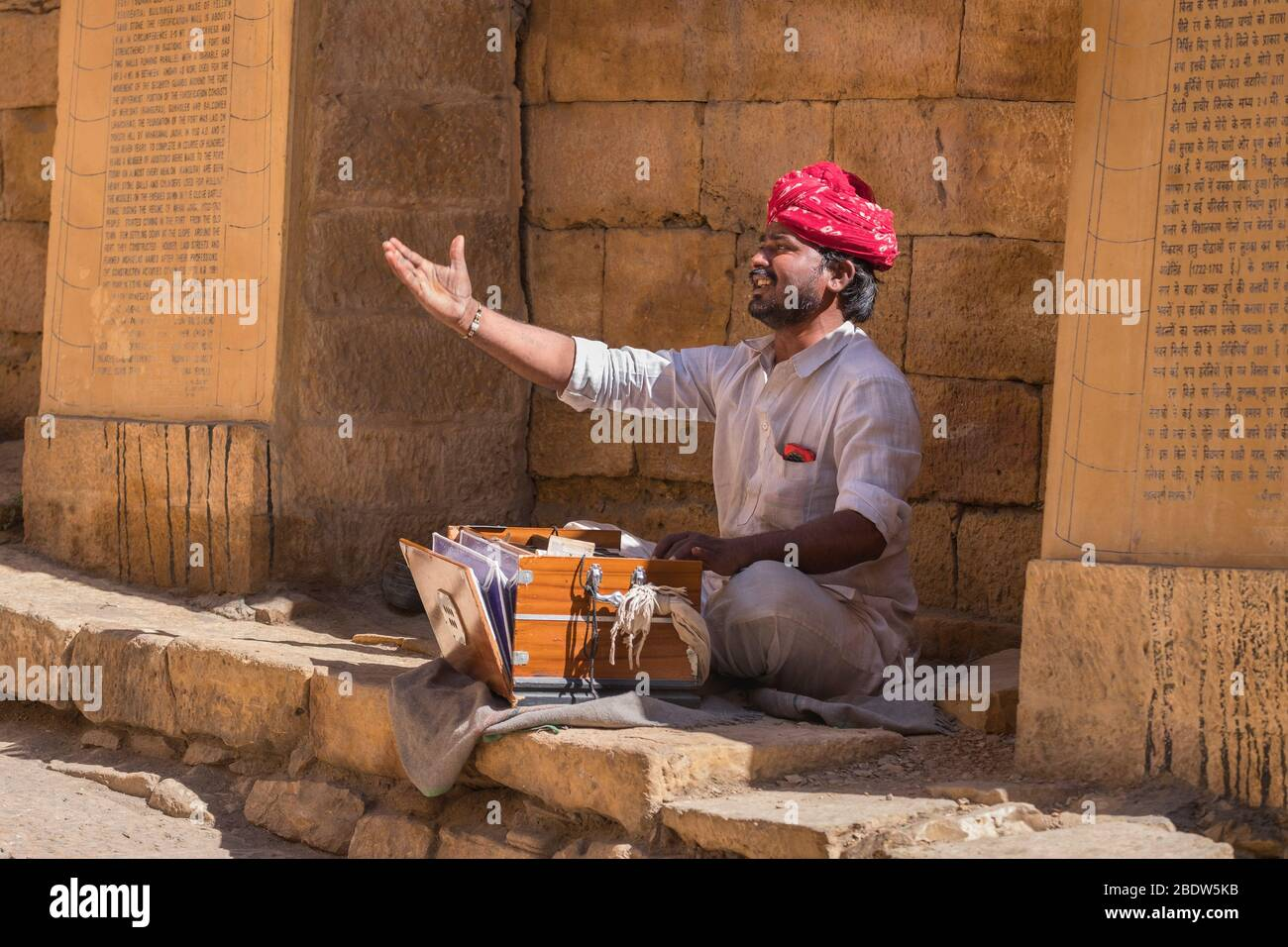 Musicien traditionnel Jaisalmer fort Rajasthan Inde Banque D'Images