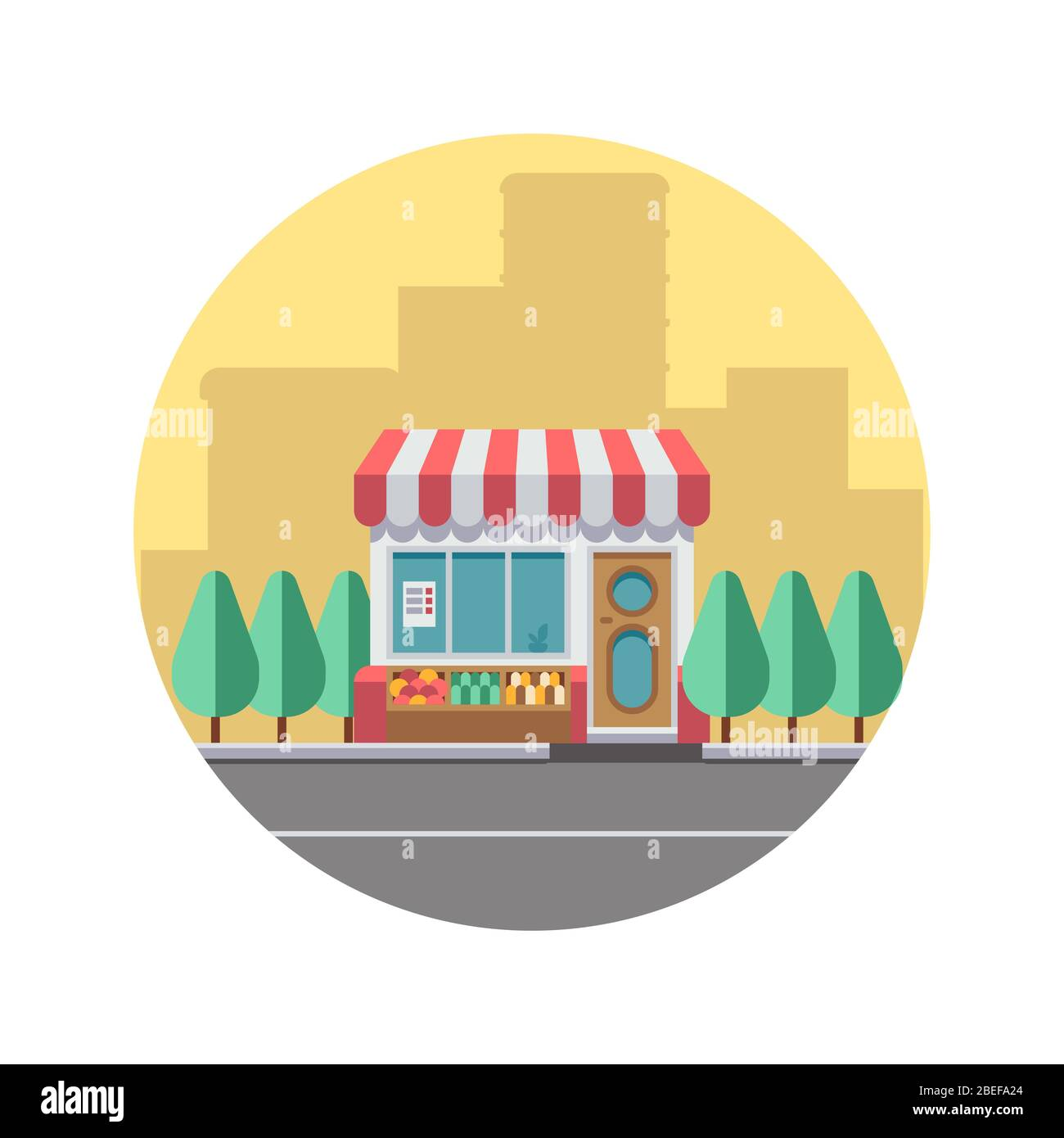 Concept de paysage urbain avec silhouette du centre-ville et magasin de nourriture mignonne. Illustration vectorielle Illustration de Vecteur