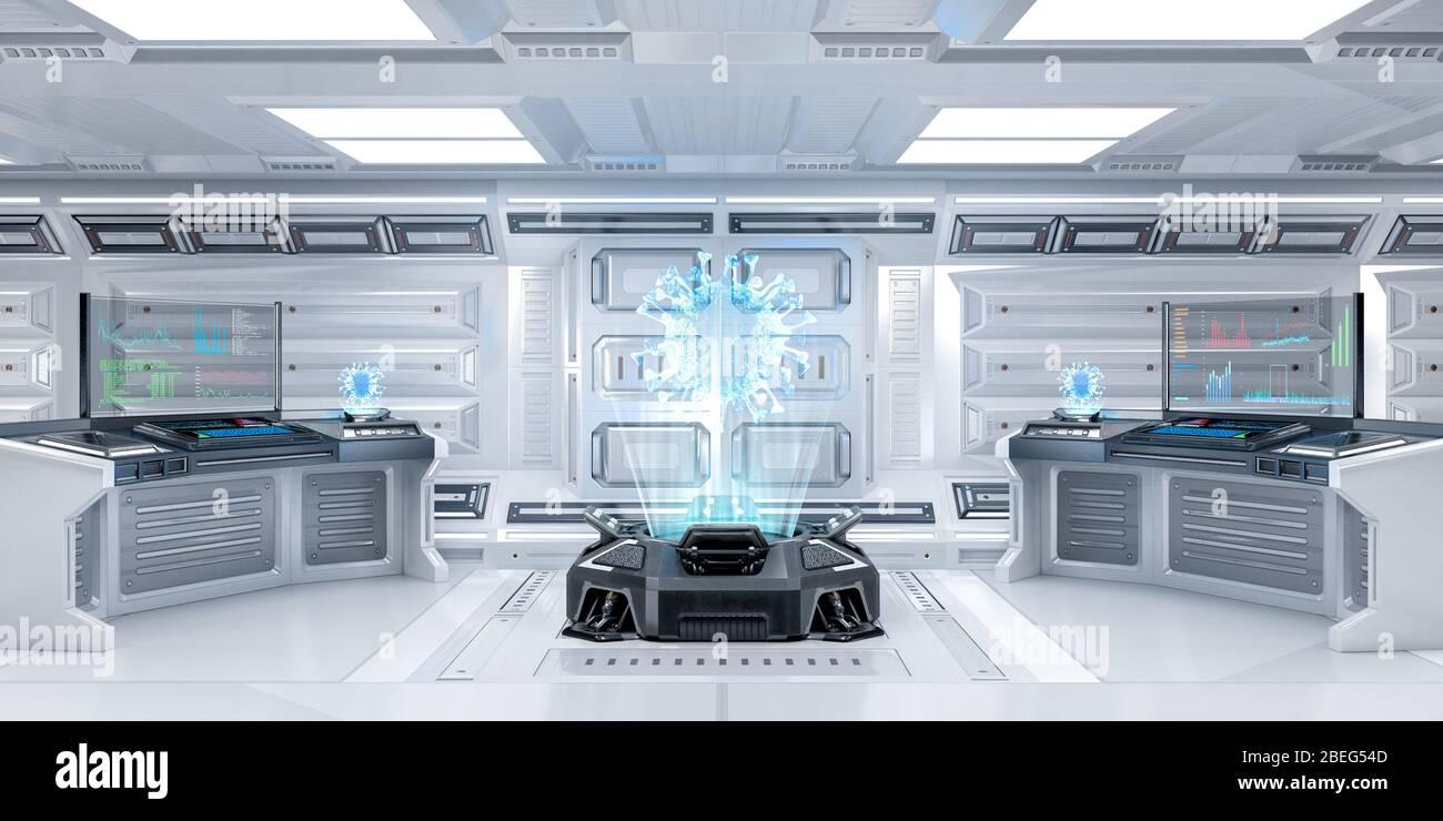 Salle de recherche futuriste Sci-Fi intérieur avec machine à hologramme Afficher le Coronavirus ou le Covid-19, rendu 3D Banque D'Images