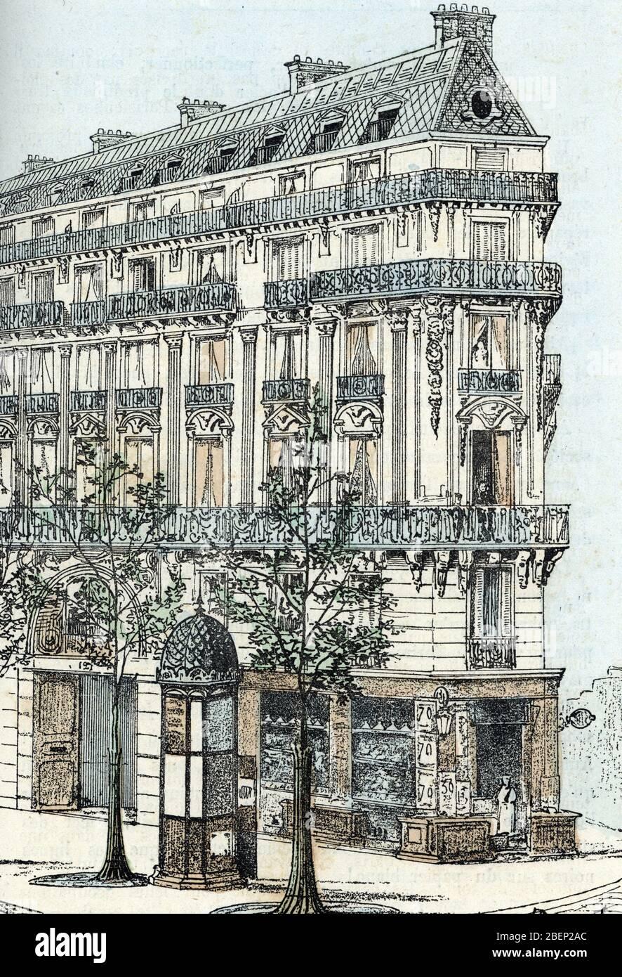 Vue d'une habitation parisienne de type haussmannien, immeuble cossu (immeuble Haussmann à Paris) Gravure tiree de 'les bésoins de la vie' de Rengade Banque D'Images