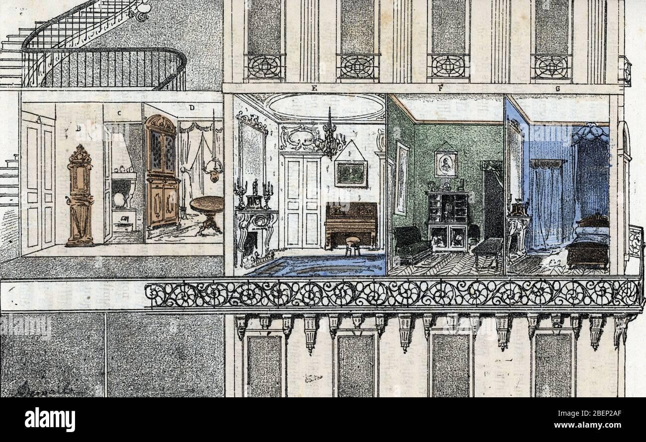 Vue d'une habitation parisienne de type haussmannien, coupé transversale représentant l'interieur de l'appartement (immeuble Haussmann à Paris, croix Banque D'Images