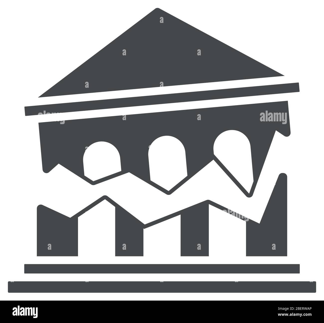 concept de rupture financière, icône de banque brisée sur fond blanc, style silhouette, illustration vectorielle Illustration de Vecteur