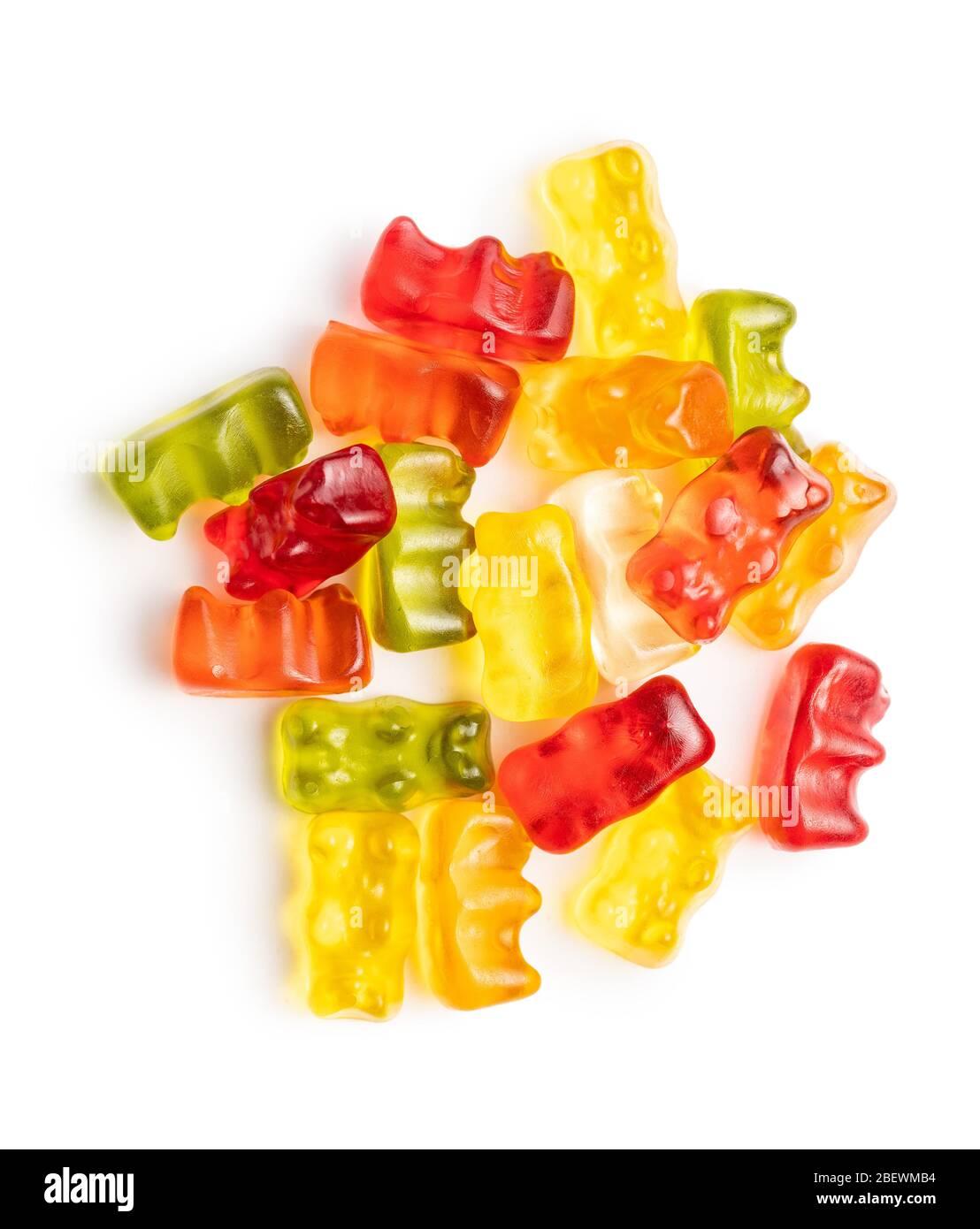 Ours en peluche, bonbons en gelée. Bonbons colorés isolés sur fond blanc. Banque D'Images