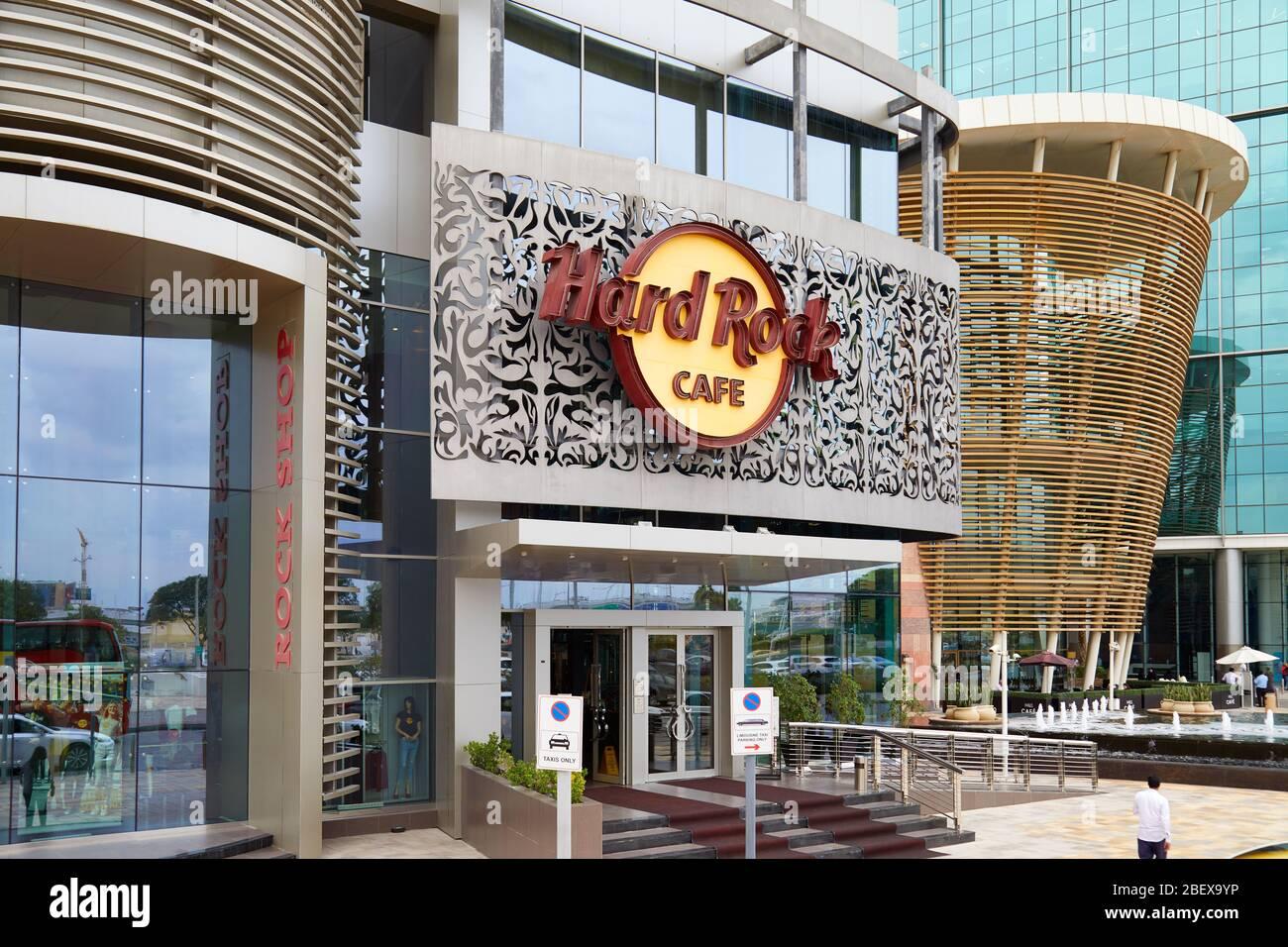 Dubaï, Émirats arabes unis - 21 NOVEMBRE 2019: Hard Rock Cafe et signe à Dubaï Banque D'Images
