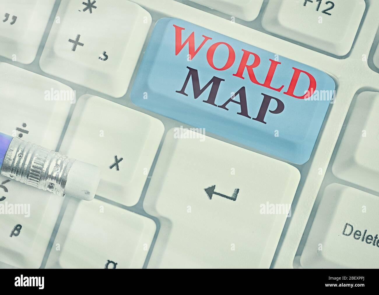 La main conceptuel montrant la carte du monde. Sens Concept une représentation schématique de la surface de la terre Banque D'Images