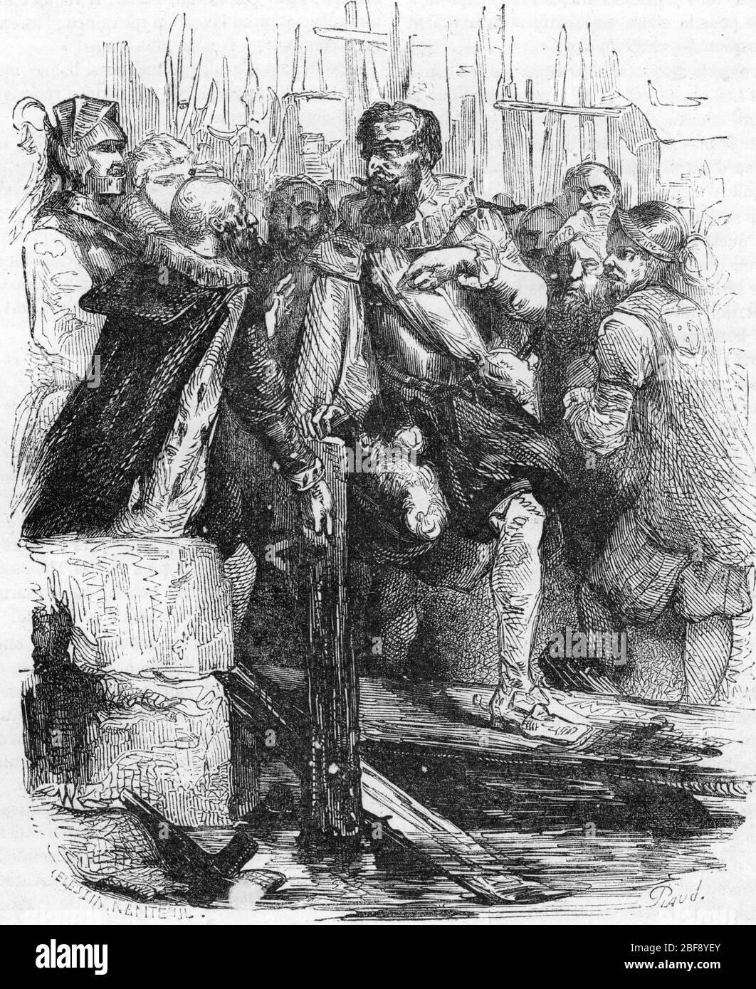 'Le roi Henri IV franchissant le pont neuf lors de la construction de sa en 1604 (le roi Henri IV traverse le Pont-neuf pour la première fois 1604) Gravure tiree Banque D'Images