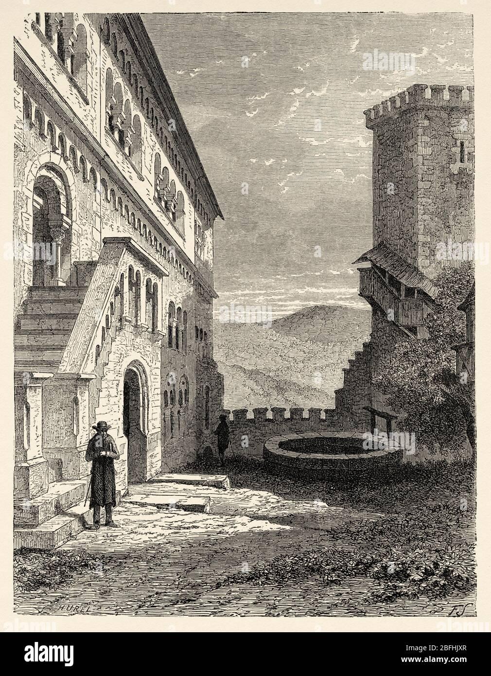 Cité médiévale de Warburg, Rhénanie-du-Nord-Westphalie. Thuringe, Allemagne, Europe. Voyage en Thuringe, Allemagne du Nord 1869 par Arsene Legelle Banque D'Images
