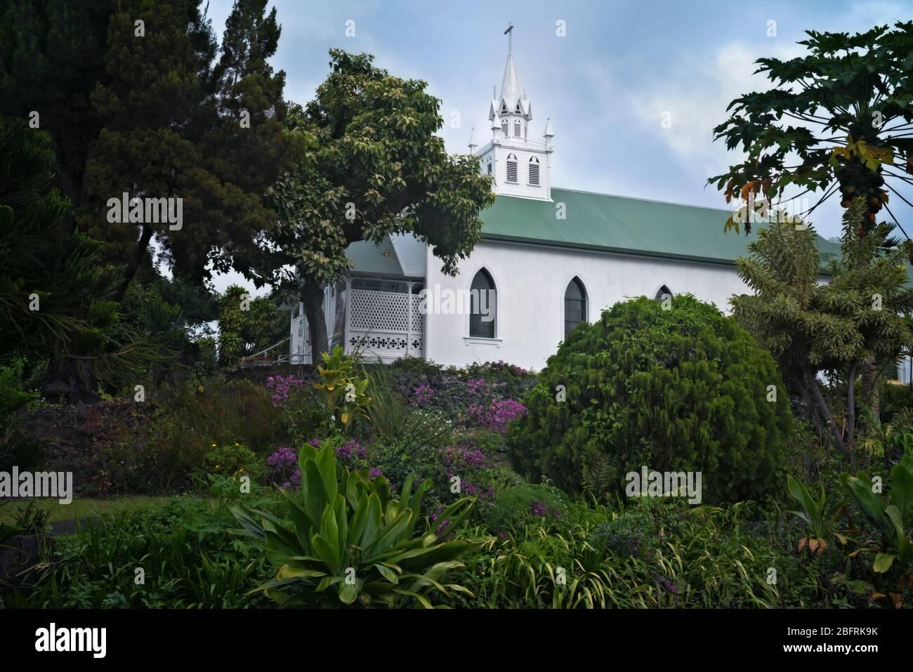 L'Église catholique Saint-Benoît est connue sous le nom d'Église peinte et date de 1842 et située dans le district sud de Kona sur la Grande île d'Hawaï Banque D'Images