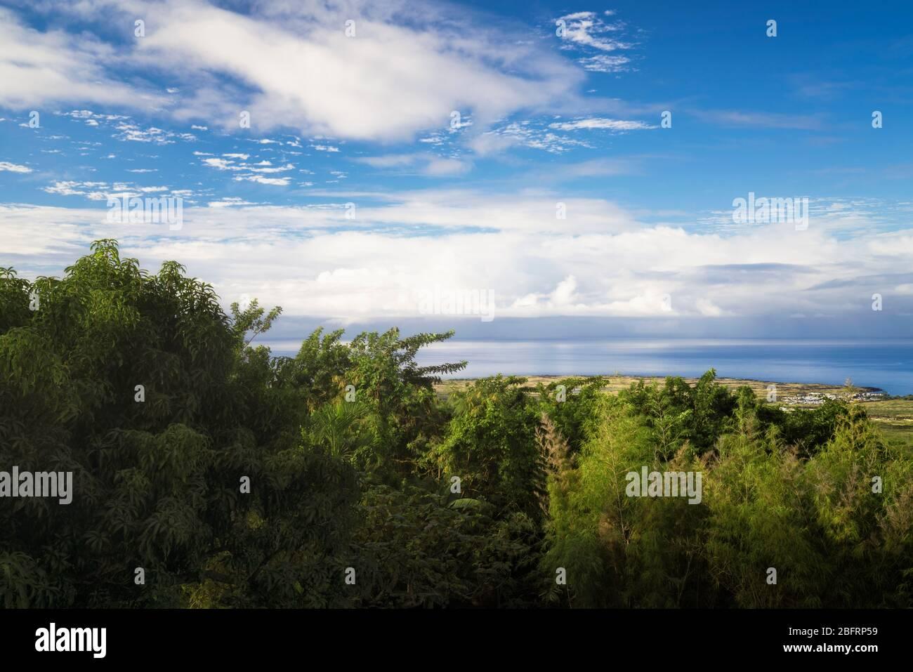 Cette vue imprenable sur l'océan Pacifique et le port d'Honokohau, en contrebas des hautes terres de Kona sur la Grande île d'Hawaï. Banque D'Images