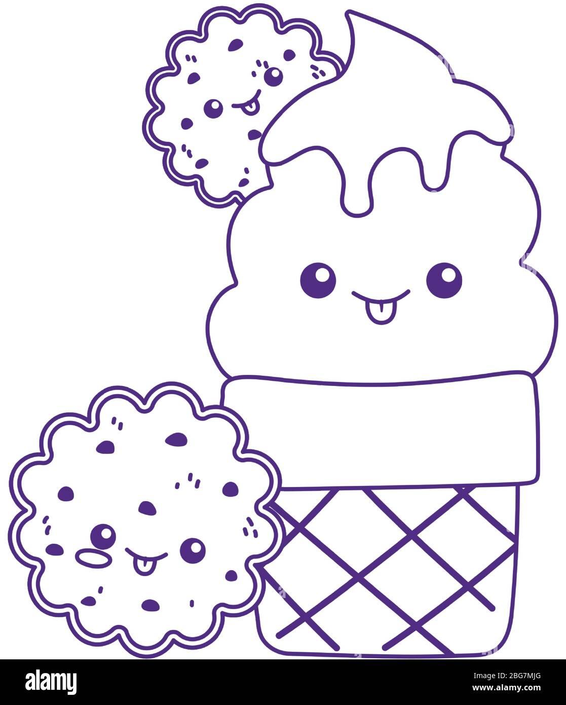Mignonne Glace Cone Et Cookies Kawaii Dessin Anime Personnage Illustration Vectorielle Image Vectorielle Stock Alamy
