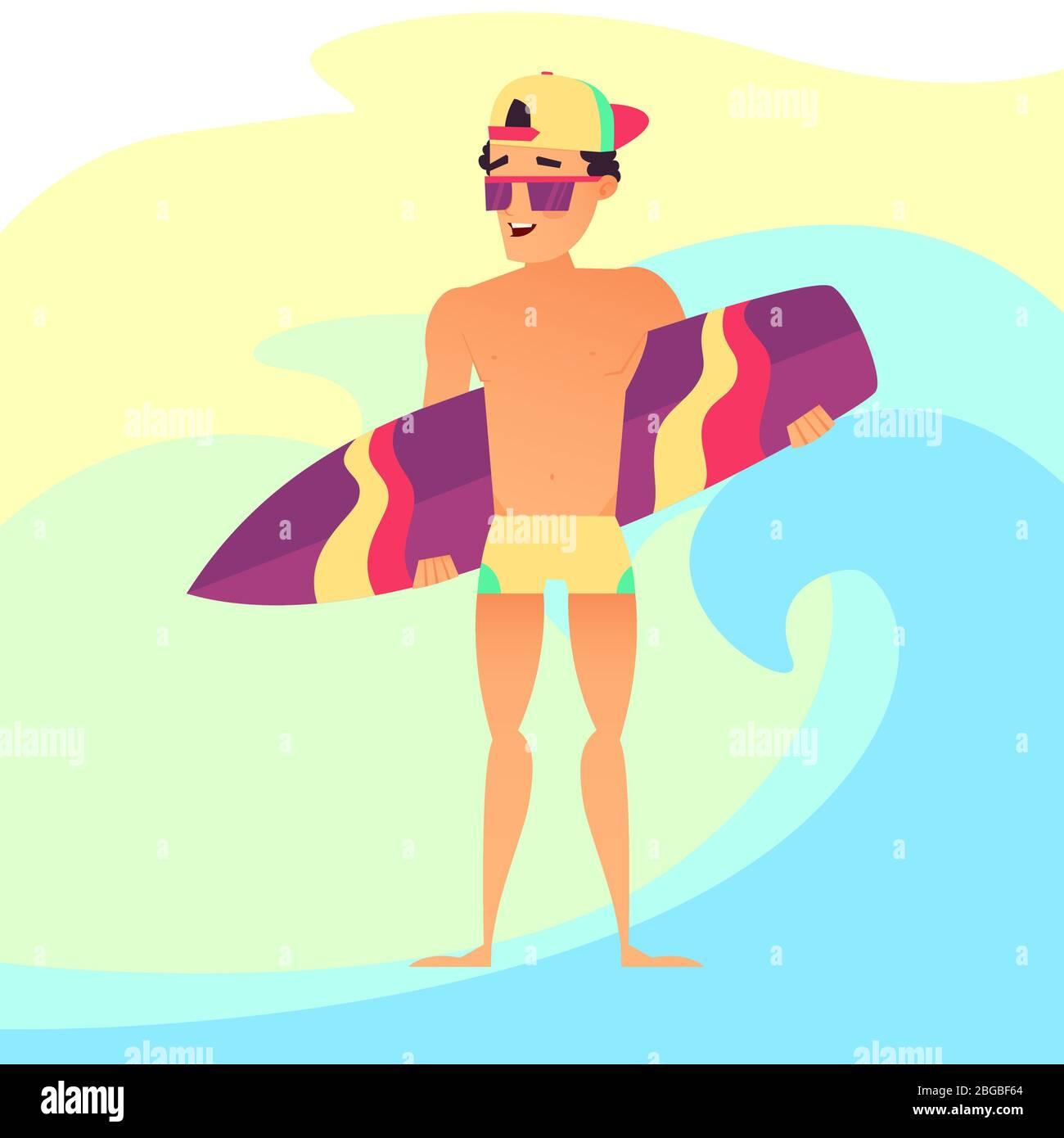 Surf Vacances D Ete Surfer Gars Avec Planche De Surf Style De Dessin Anime Image Vectorielle Stock Alamy