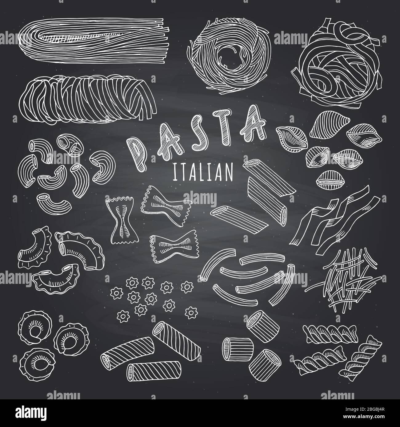 Types de pâtes italines. Photos dessinées à la main sur fond sombre. Icônes définies pour le menu du restaurant Illustration de Vecteur