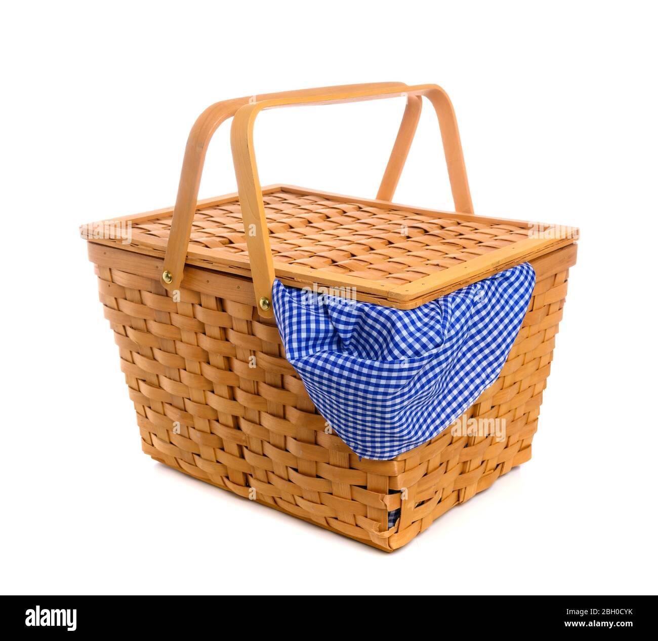 Panier pique-nique avec lingham bleu, tissu à carreaux Banque D'Images