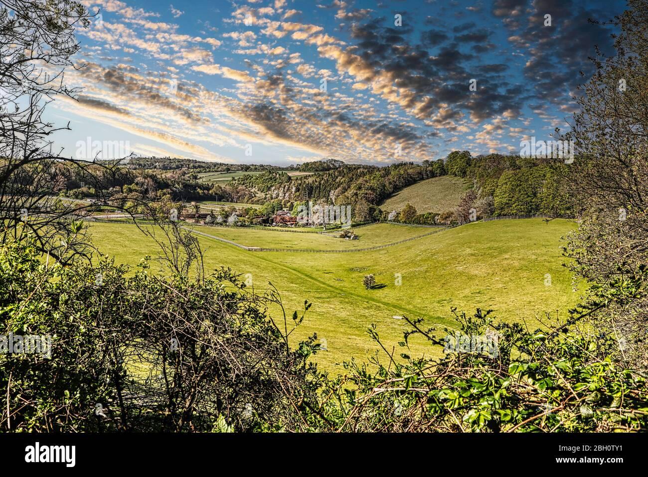 Les collines et vallées de printemps à Bucks au royaume-uni Banque D'Images