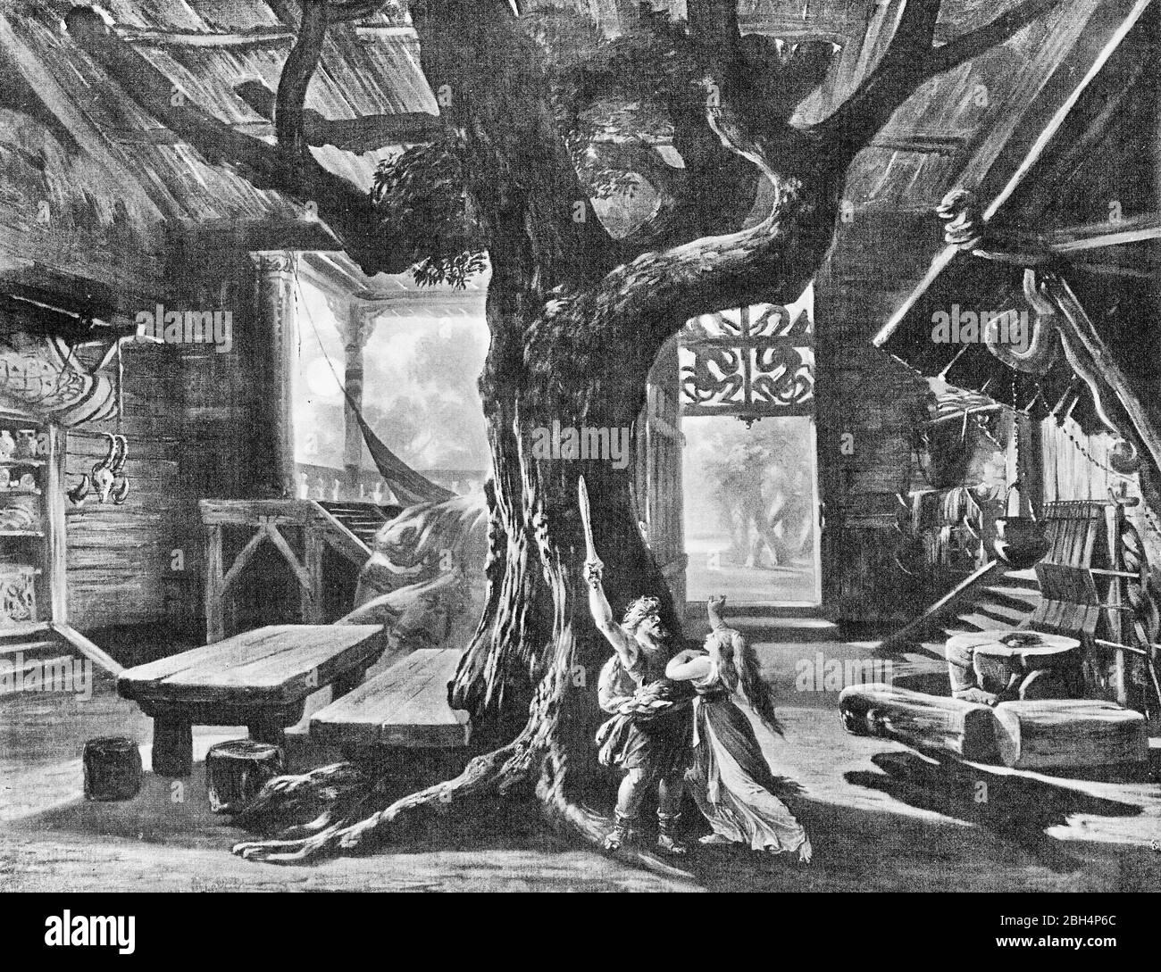Il s'agit d'une photographie monochrome prise des 14 dessins de Hoffman (numéro 4) pour l'opéra Der Ring des Nibelungen de Wagner en 1876. Banque D'Images