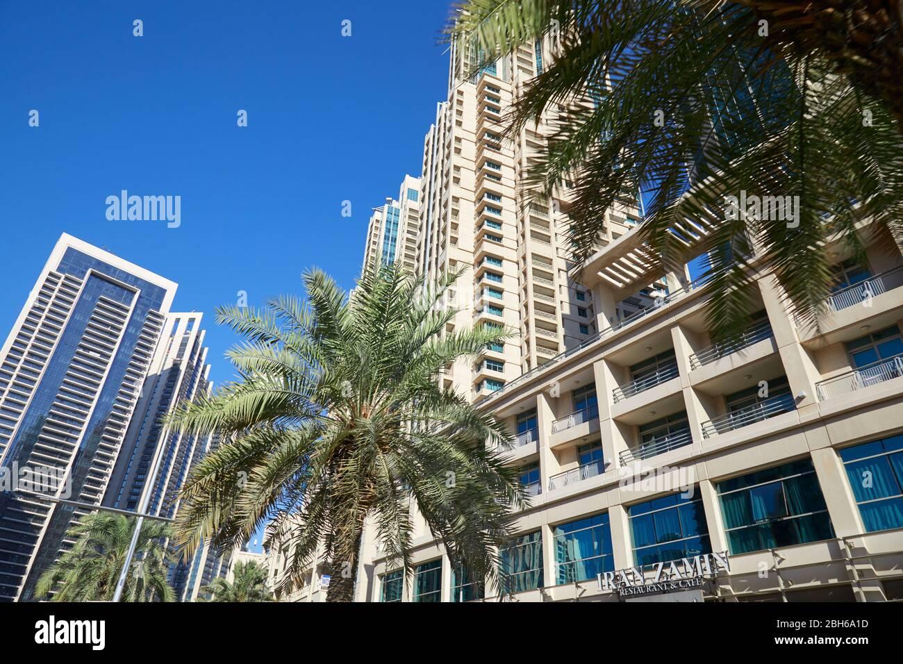 DUBAÏ, EMIRATS ARABES UNIS - 22 NOVEMBRE 2019: Gratte-ciel modernes dans le centre de Dubaï avec palmiers, vue à angle bas dans une journée ensoleillée Banque D'Images