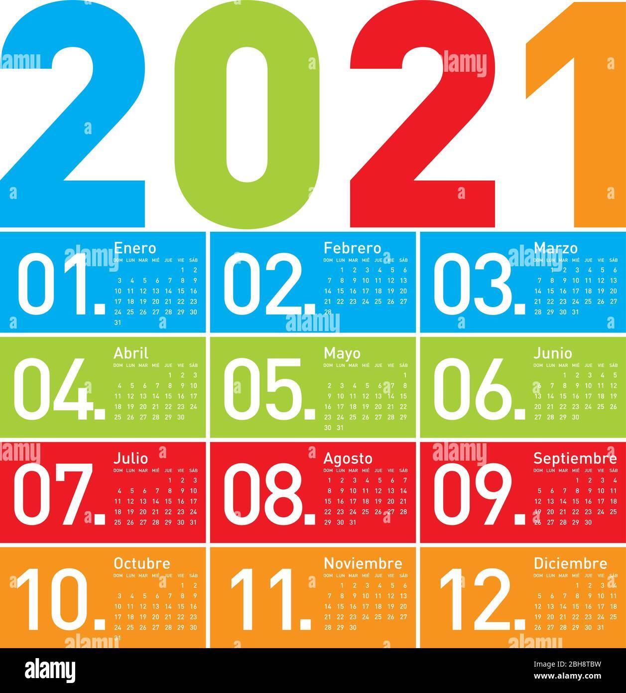 Calendrier coloré pour l'année 2021, en espagnol Image Vectorielle