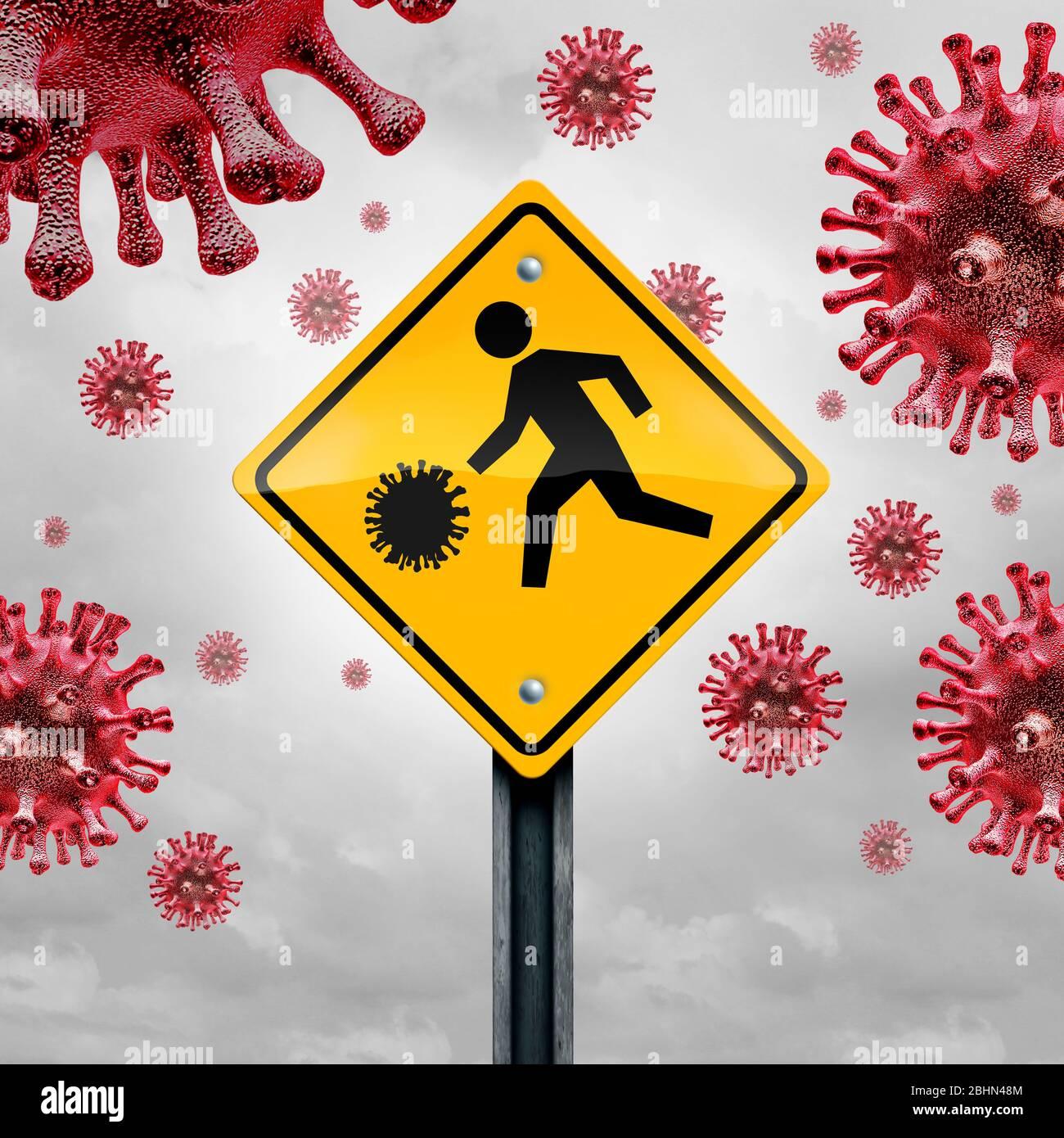 Concept d'école et de maladie comme signe de circulation étudiant avec une cellule virale comme avertissement pour la grippe ou le coronavirus et l'éclosion de Covid-19 dans les écoles. Banque D'Images