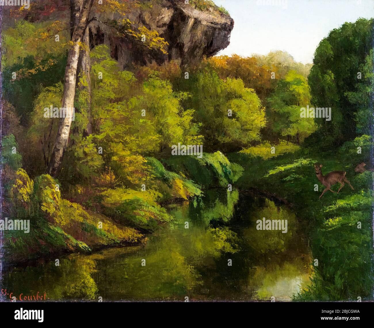 Gustave Courbet Vue Dans La Foret De Fontainebleau Peinture De Paysage 1855 Photo Stock Alamy
