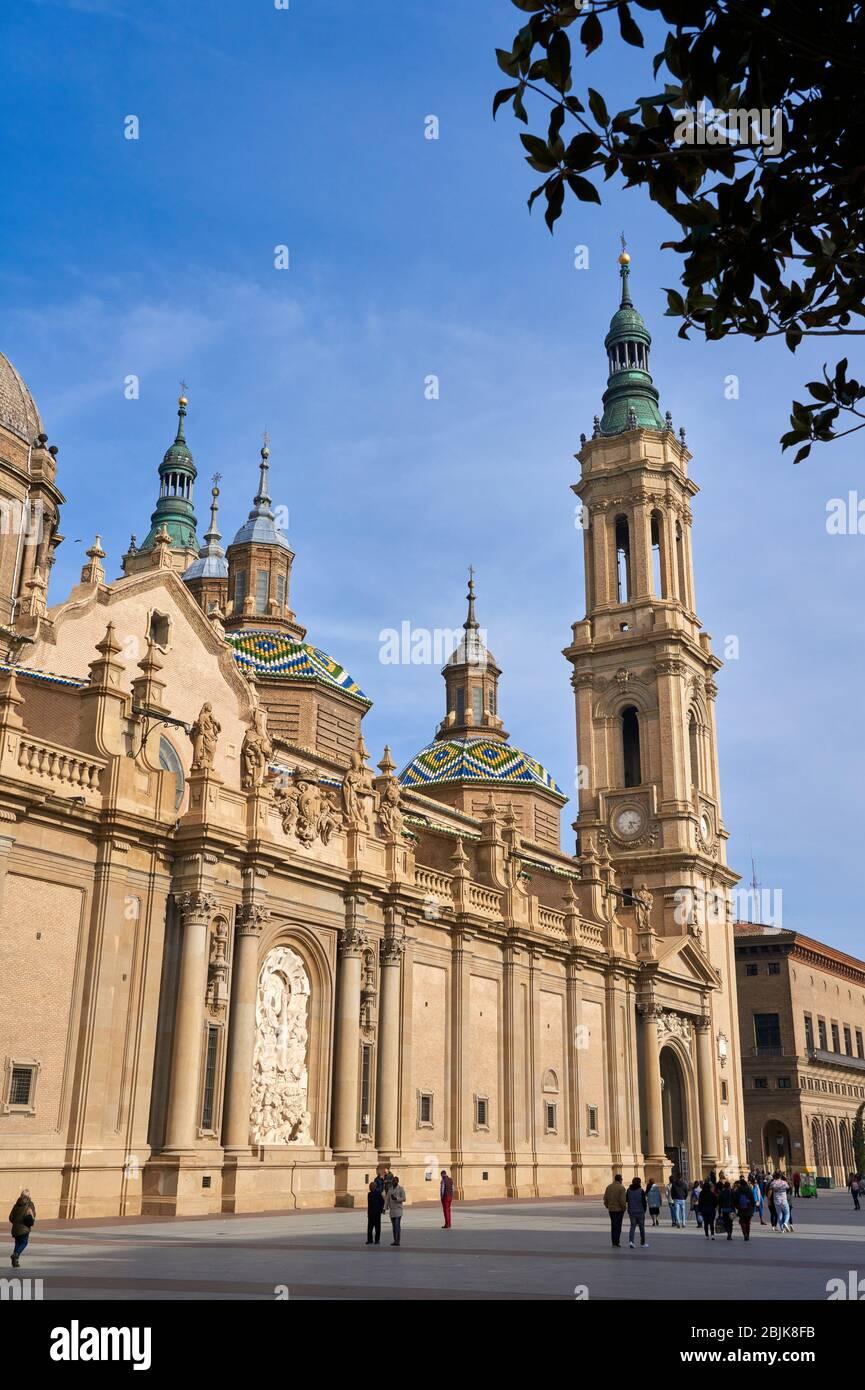 Cathédrale de la Basilique notre Dame de Pilar, Plaza del Pilar, Saragosse, Aragon, Espagne, Europe Banque D'Images