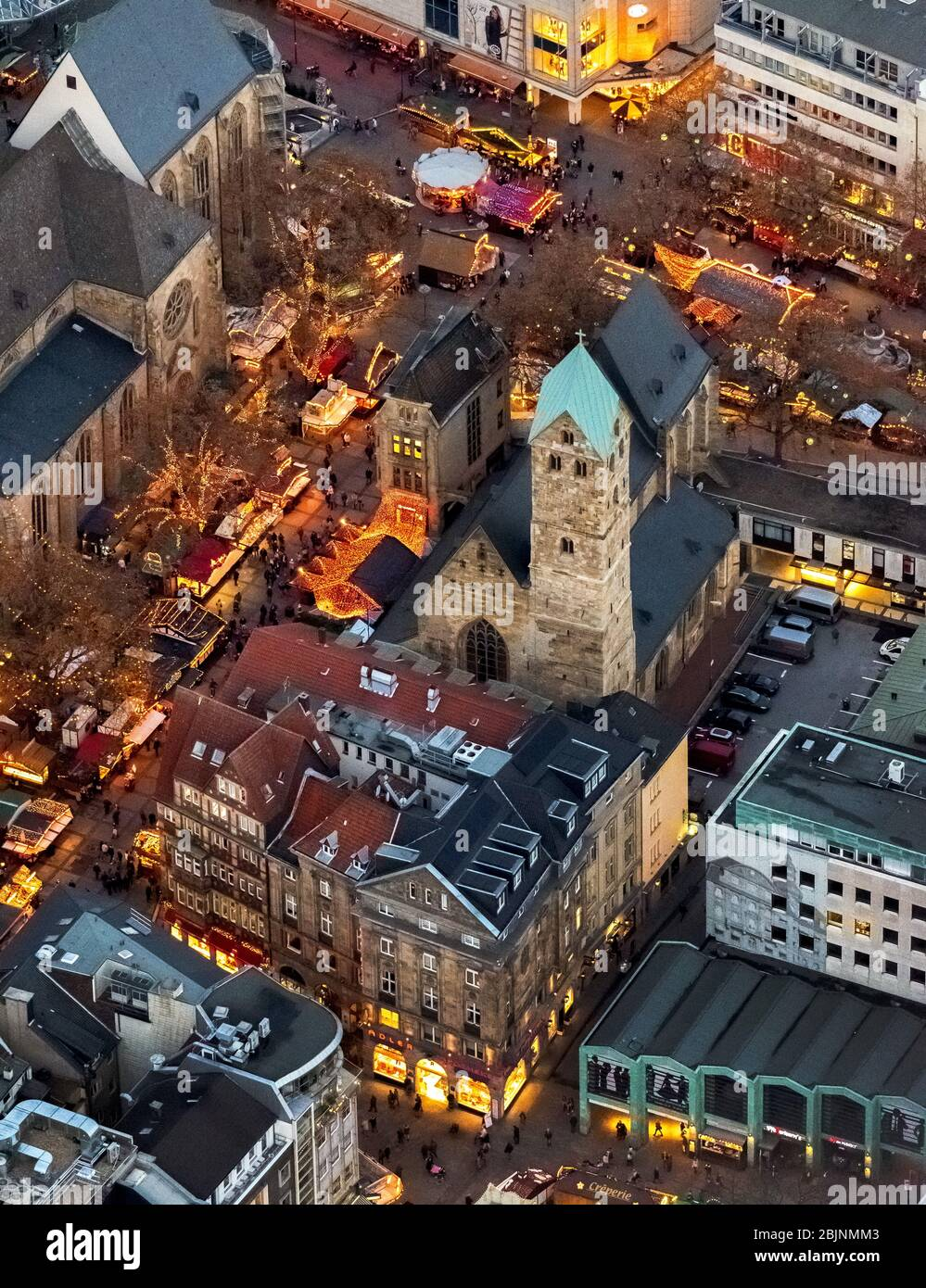 Marché de noël sur Otenhellweg à Dortmund, 23.11.2016, vue aérienne, Allemagne, Rhénanie-du-Nord-Westphalie, Ruhr Area, Dortmund Banque D'Images